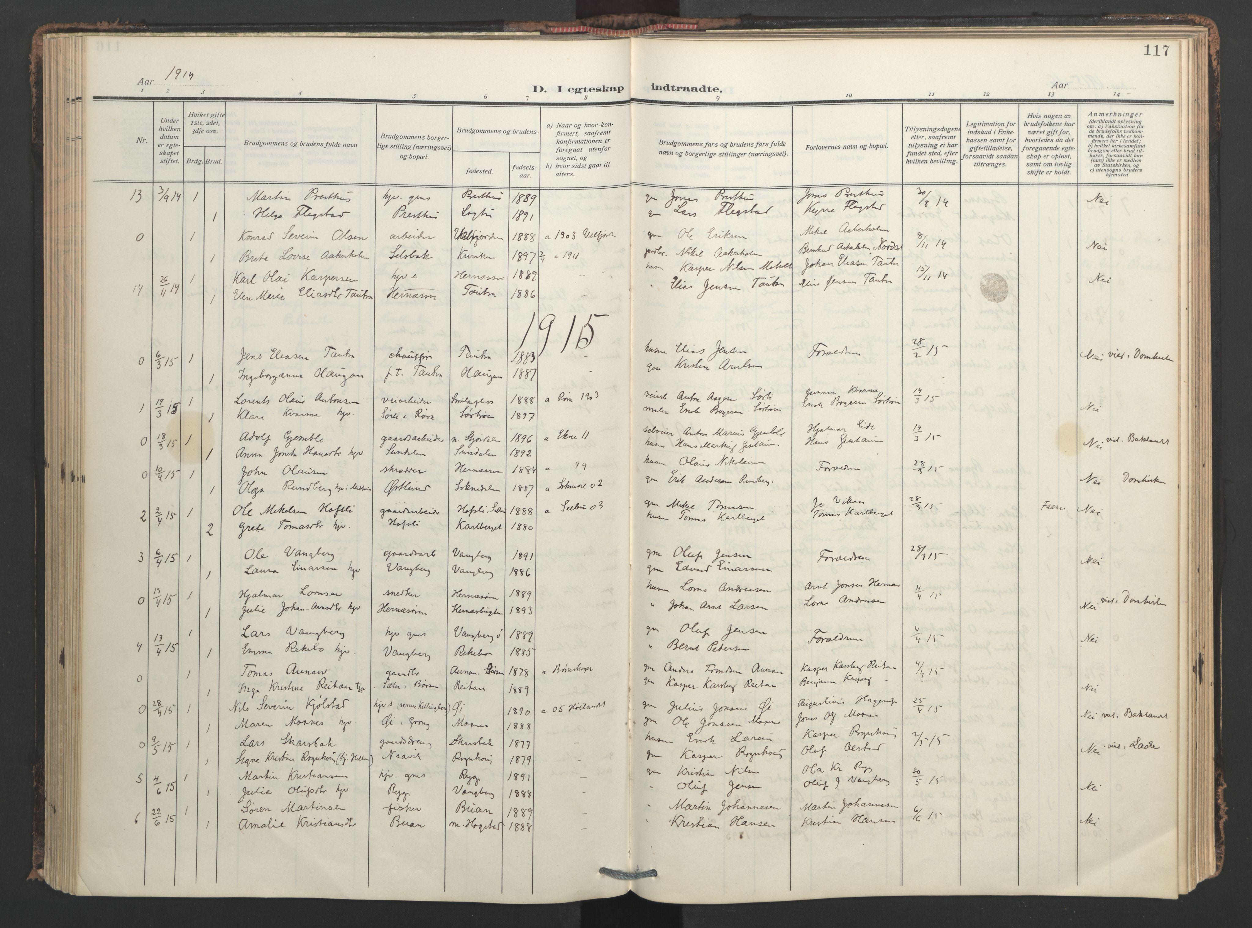 SAT, Ministerialprotokoller, klokkerbøker og fødselsregistre - Nord-Trøndelag, 713/L0123: Ministerialbok nr. 713A12, 1911-1925, s. 117