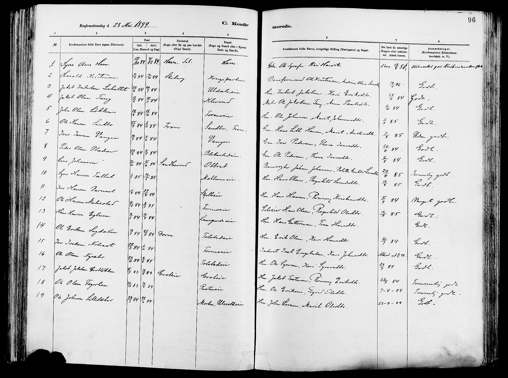 SAH, Vågå prestekontor, Ministerialbok nr. 8, 1886-1904, s. 96