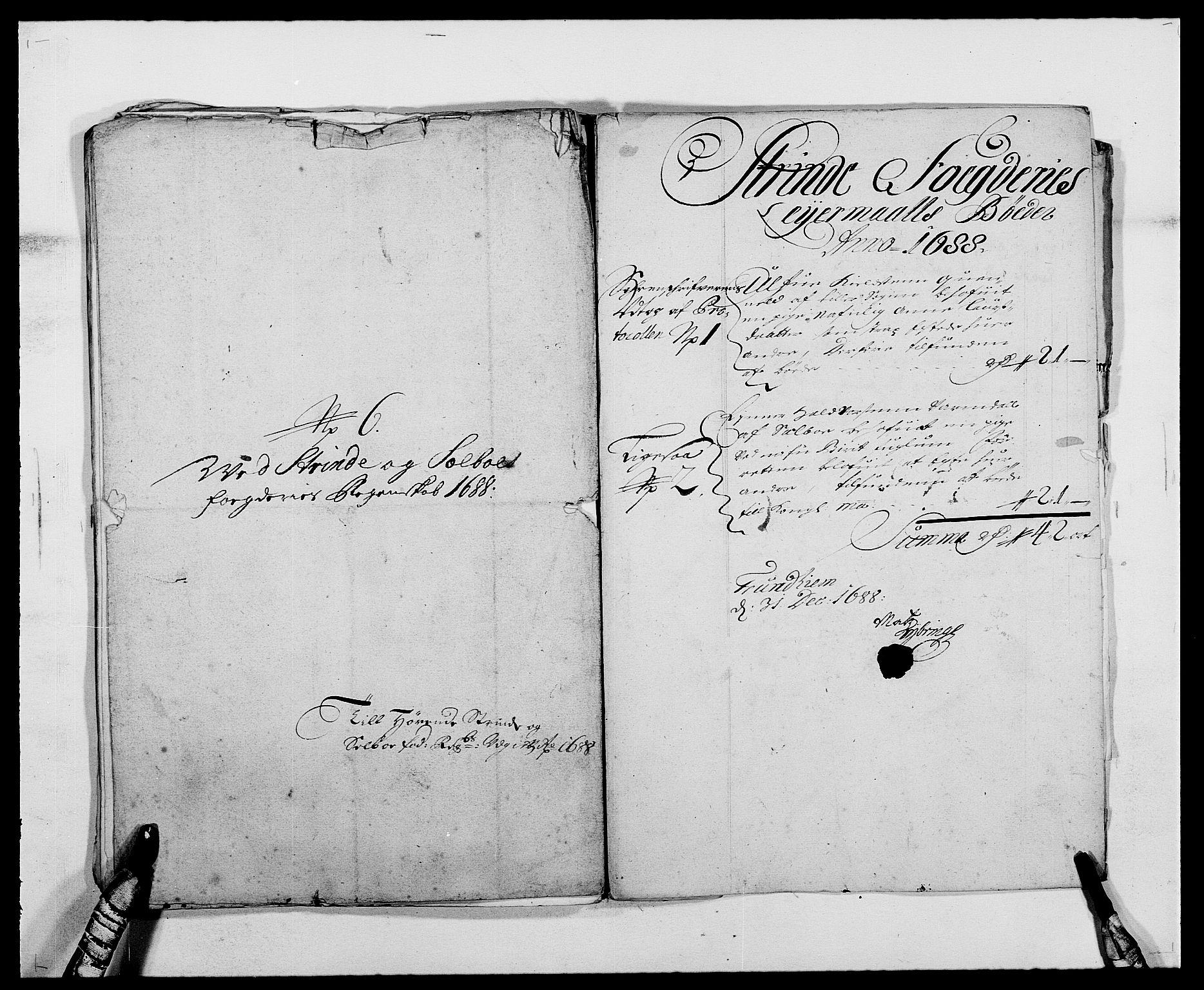 RA, Rentekammeret inntil 1814, Reviderte regnskaper, Fogderegnskap, R61/L4101: Fogderegnskap Strinda og Selbu, 1687-1688, s. 264
