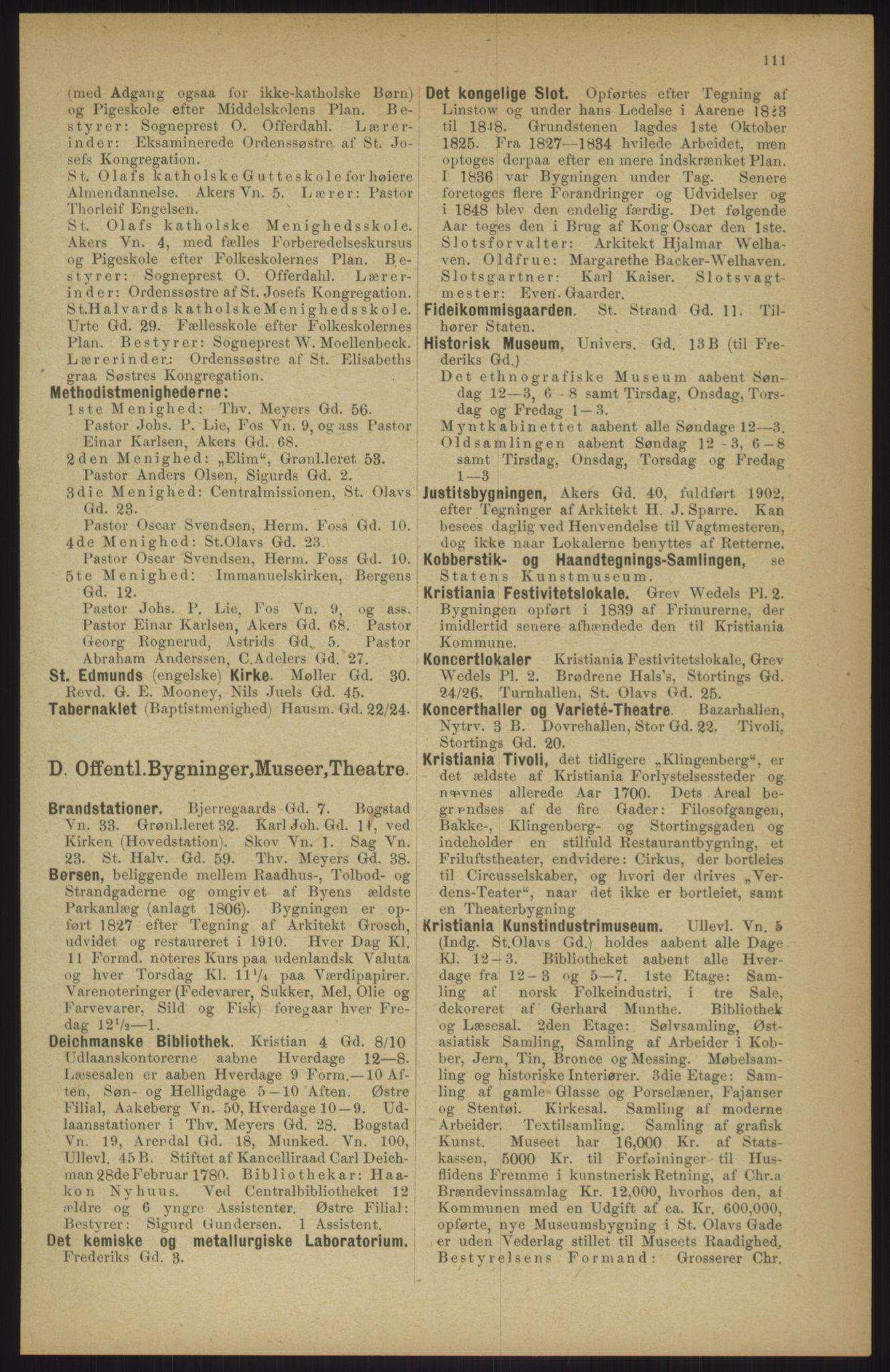 RA, Kristiania adressebok (publikasjon)*, 1911, s. 111