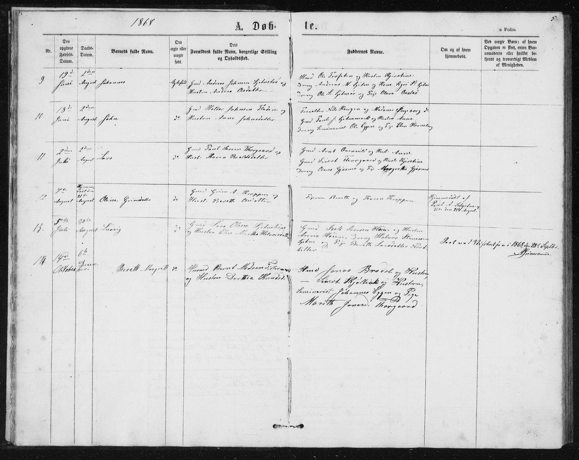 SAT, Ministerialprotokoller, klokkerbøker og fødselsregistre - Sør-Trøndelag, 621/L0459: Klokkerbok nr. 621C02, 1866-1895, s. 5