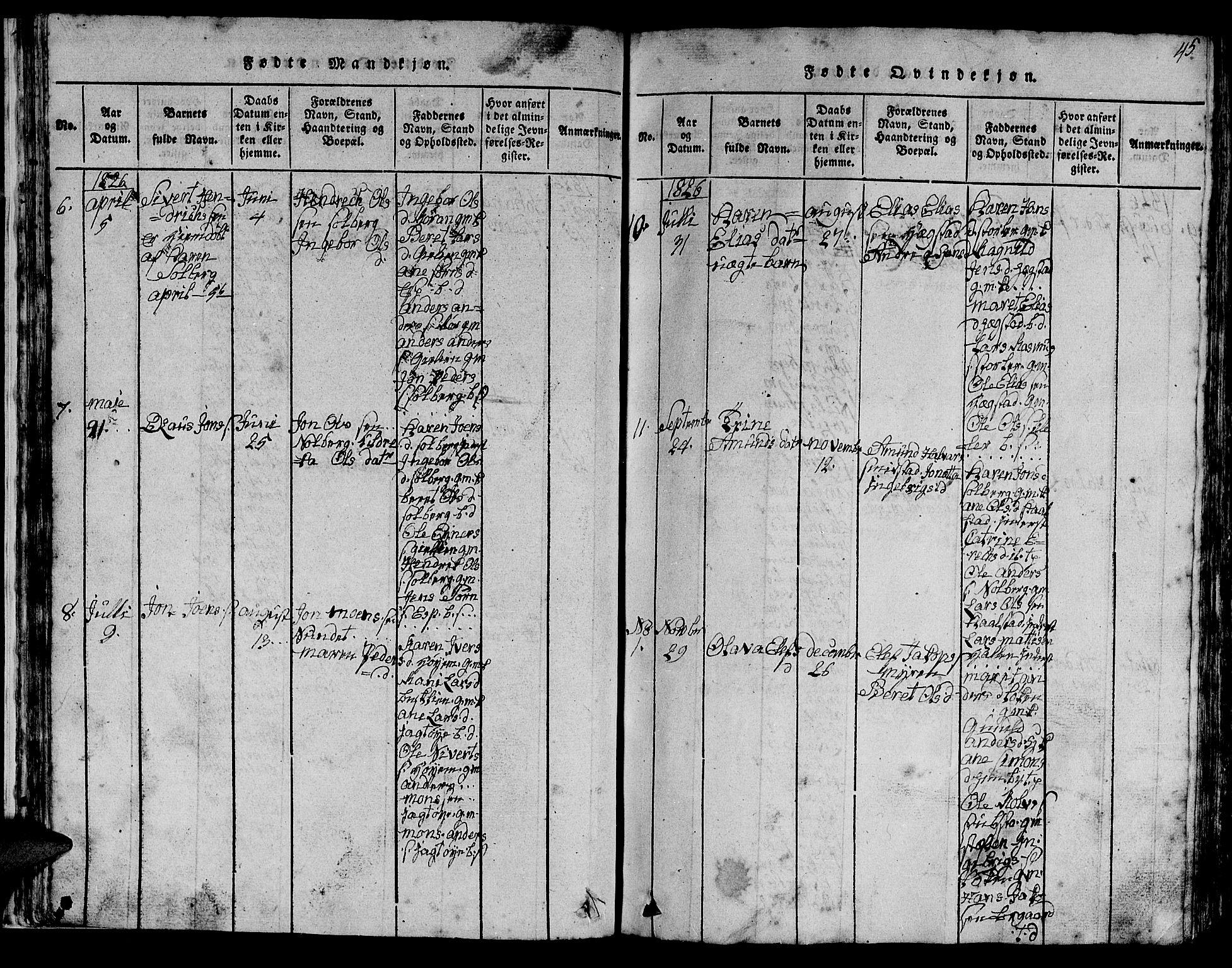SAT, Ministerialprotokoller, klokkerbøker og fødselsregistre - Sør-Trøndelag, 613/L0393: Klokkerbok nr. 613C01, 1816-1886, s. 45
