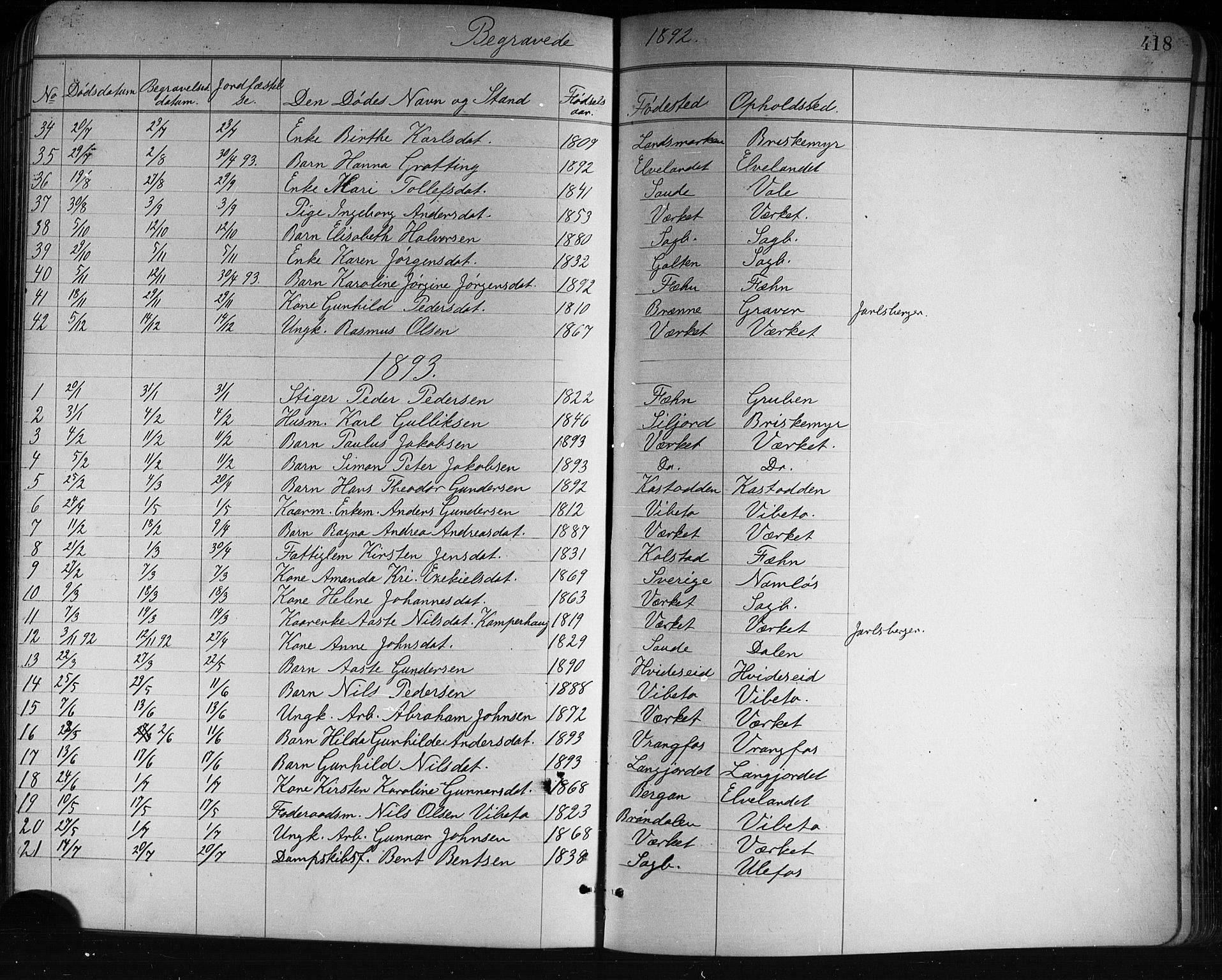 SAKO, Holla kirkebøker, G/Ga/L0005: Klokkerbok nr. I 5, 1891-1917, s. 418