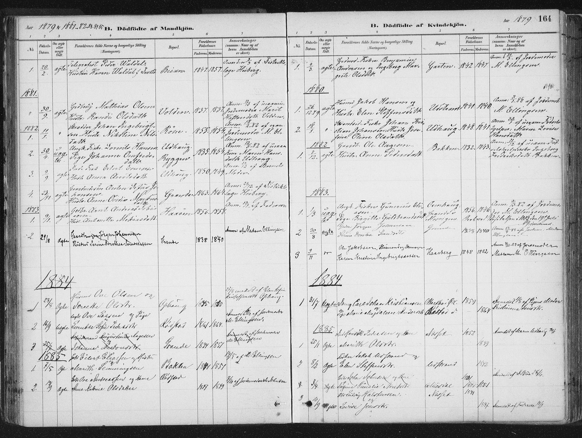 SAT, Ministerialprotokoller, klokkerbøker og fødselsregistre - Sør-Trøndelag, 659/L0739: Ministerialbok nr. 659A09, 1879-1893, s. 164
