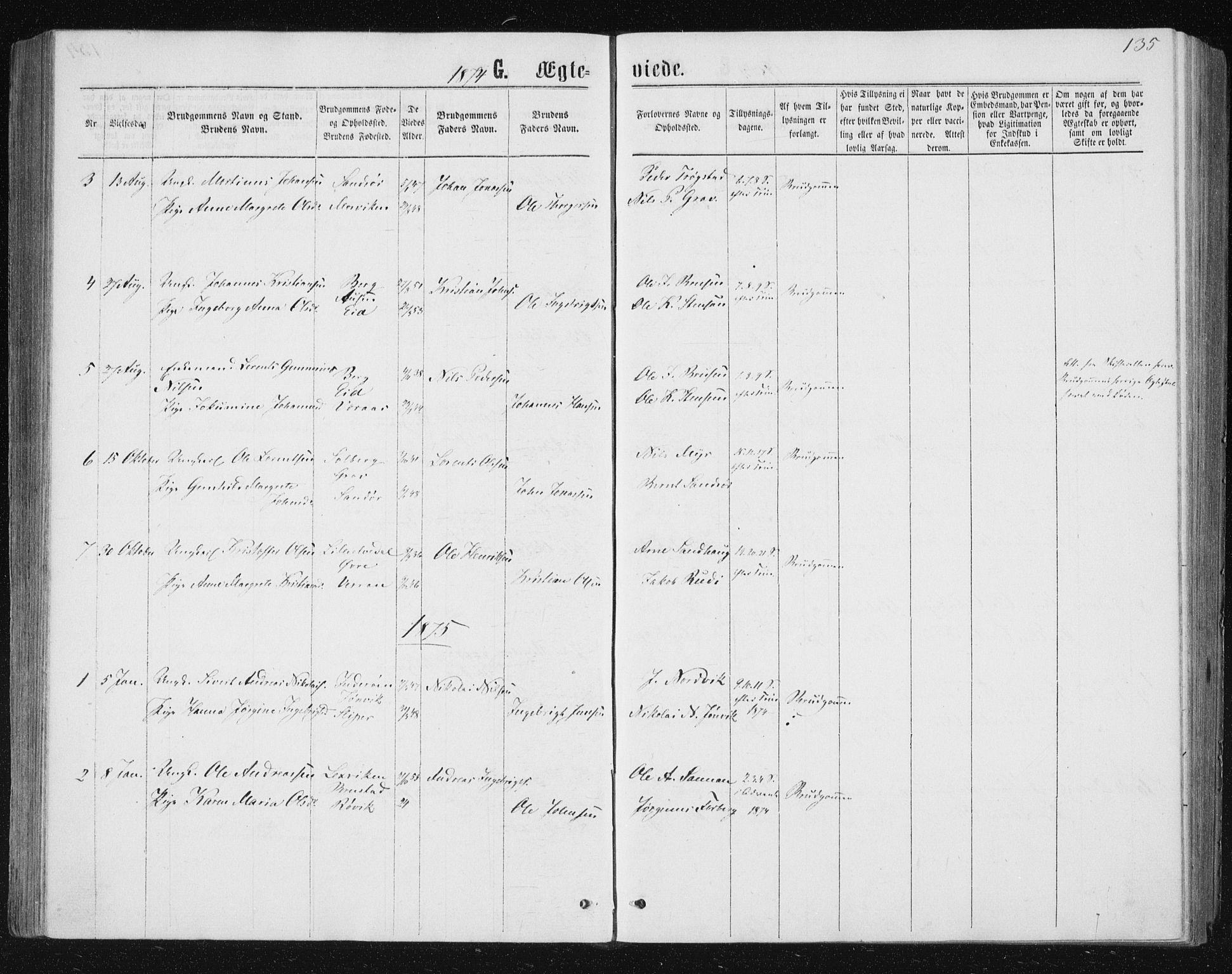 SAT, Ministerialprotokoller, klokkerbøker og fødselsregistre - Nord-Trøndelag, 722/L0219: Ministerialbok nr. 722A06, 1868-1880, s. 135