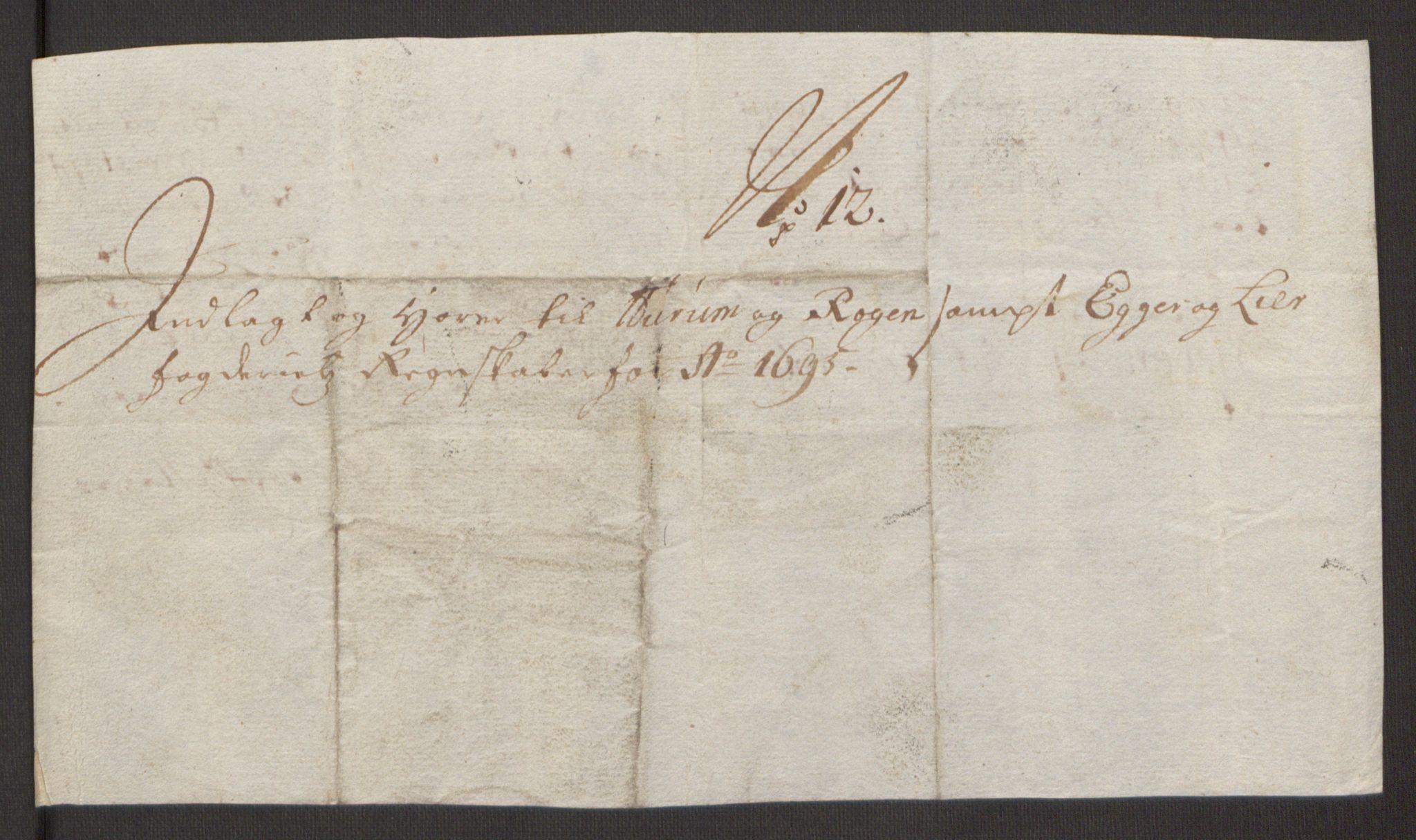RA, Rentekammeret inntil 1814, Reviderte regnskaper, Fogderegnskap, R30/L1694: Fogderegnskap Hurum, Røyken, Eiker og Lier, 1694-1696, s. 300