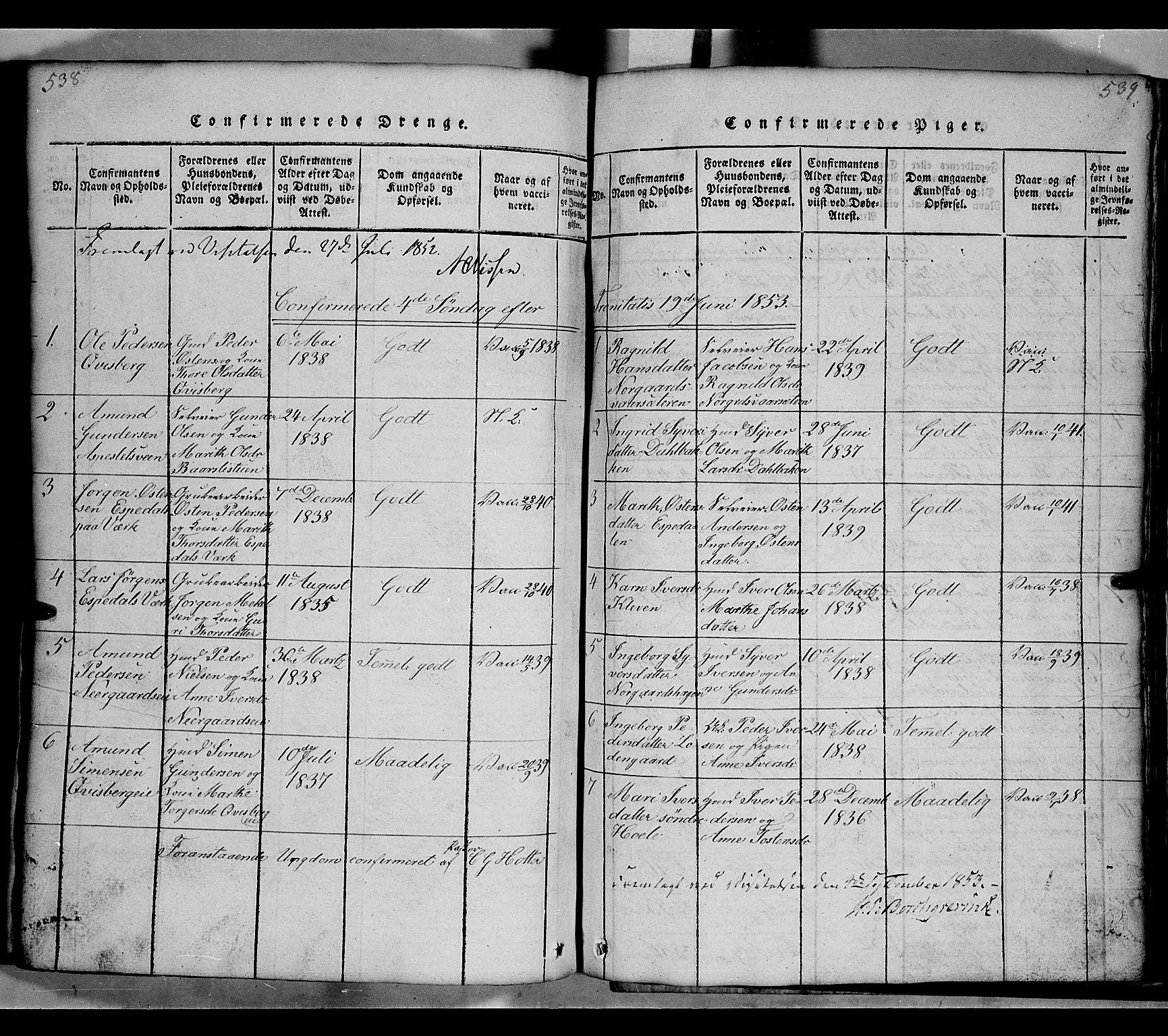 SAH, Gausdal prestekontor, Klokkerbok nr. 2, 1818-1874, s. 538-539