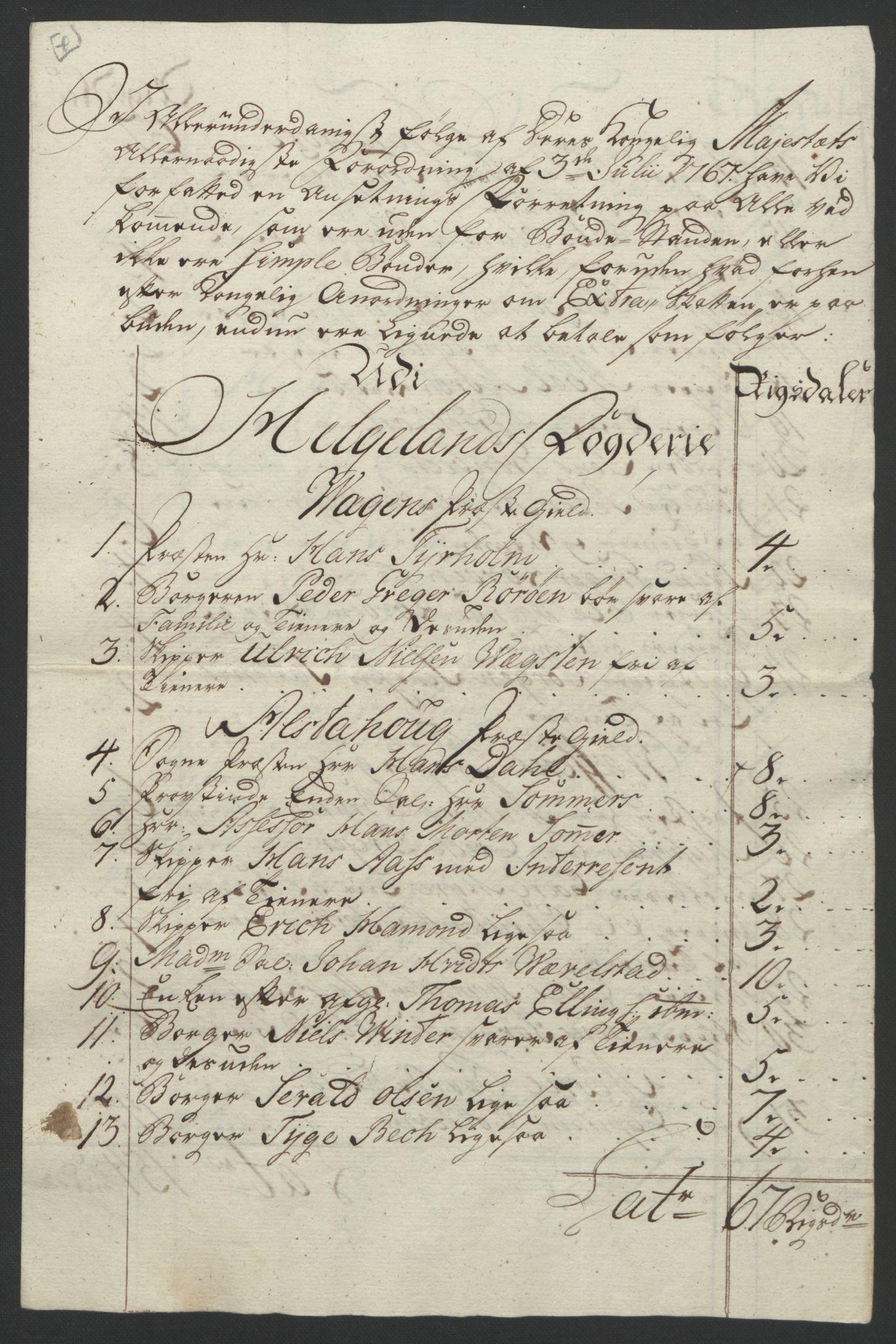 RA, Rentekammeret inntil 1814, Reviderte regnskaper, Fogderegnskap, R65/L4573: Ekstraskatten Helgeland, 1762-1772, s. 351