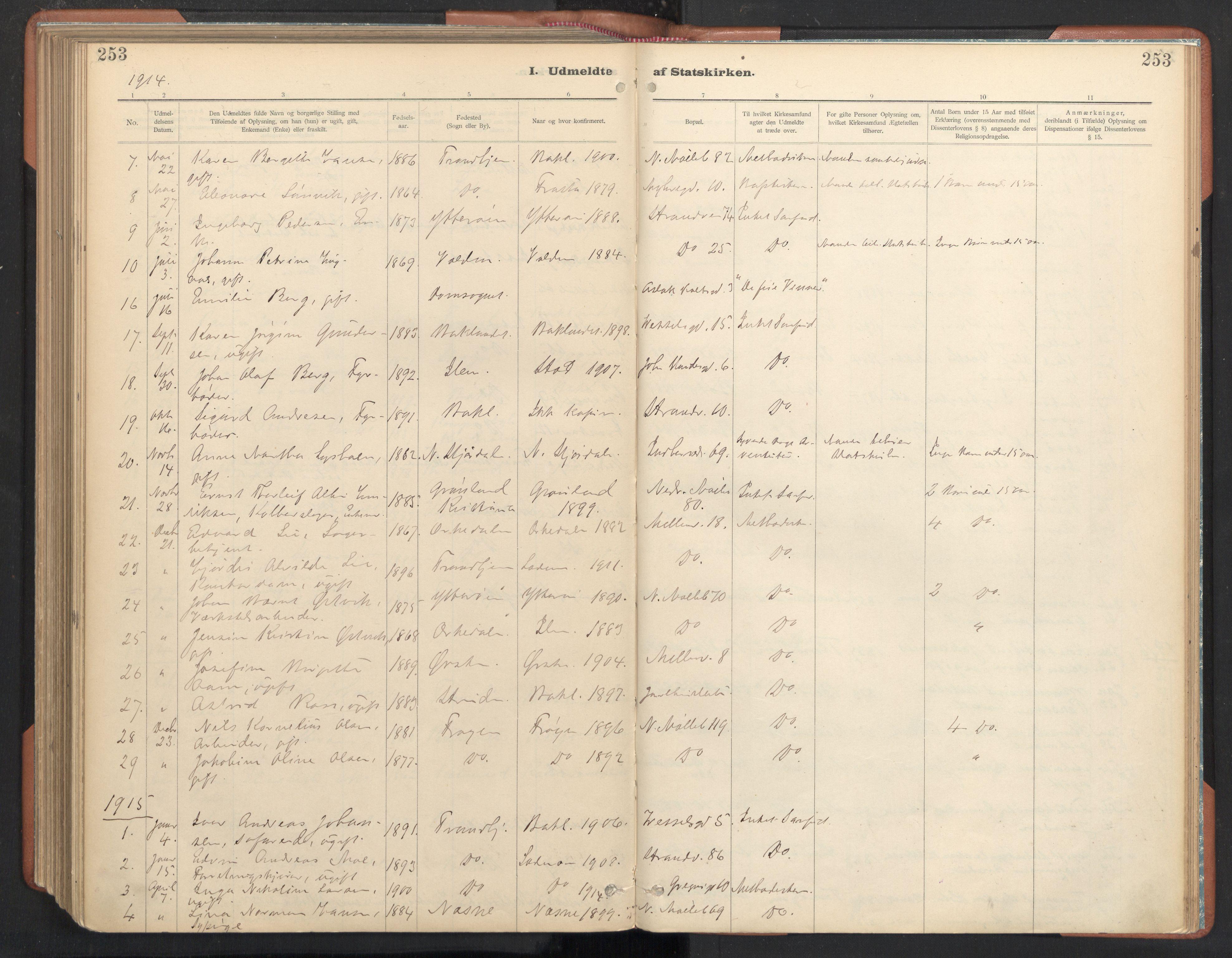 SAT, Ministerialprotokoller, klokkerbøker og fødselsregistre - Sør-Trøndelag, 605/L0244: Ministerialbok nr. 605A06, 1908-1954, s. 253