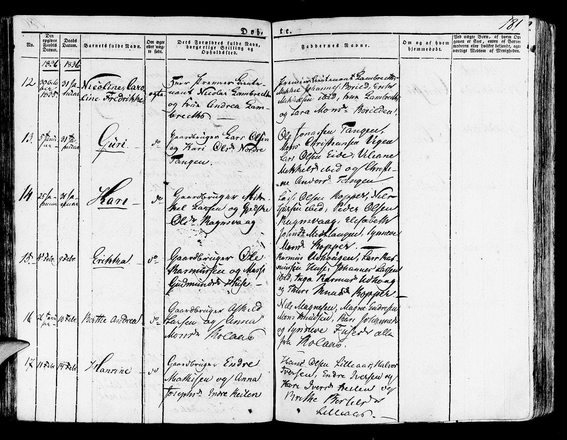 SAB, Lindås Sokneprestembete, H/Haa: Ministerialbok nr. A 8, 1823-1836, s. 181