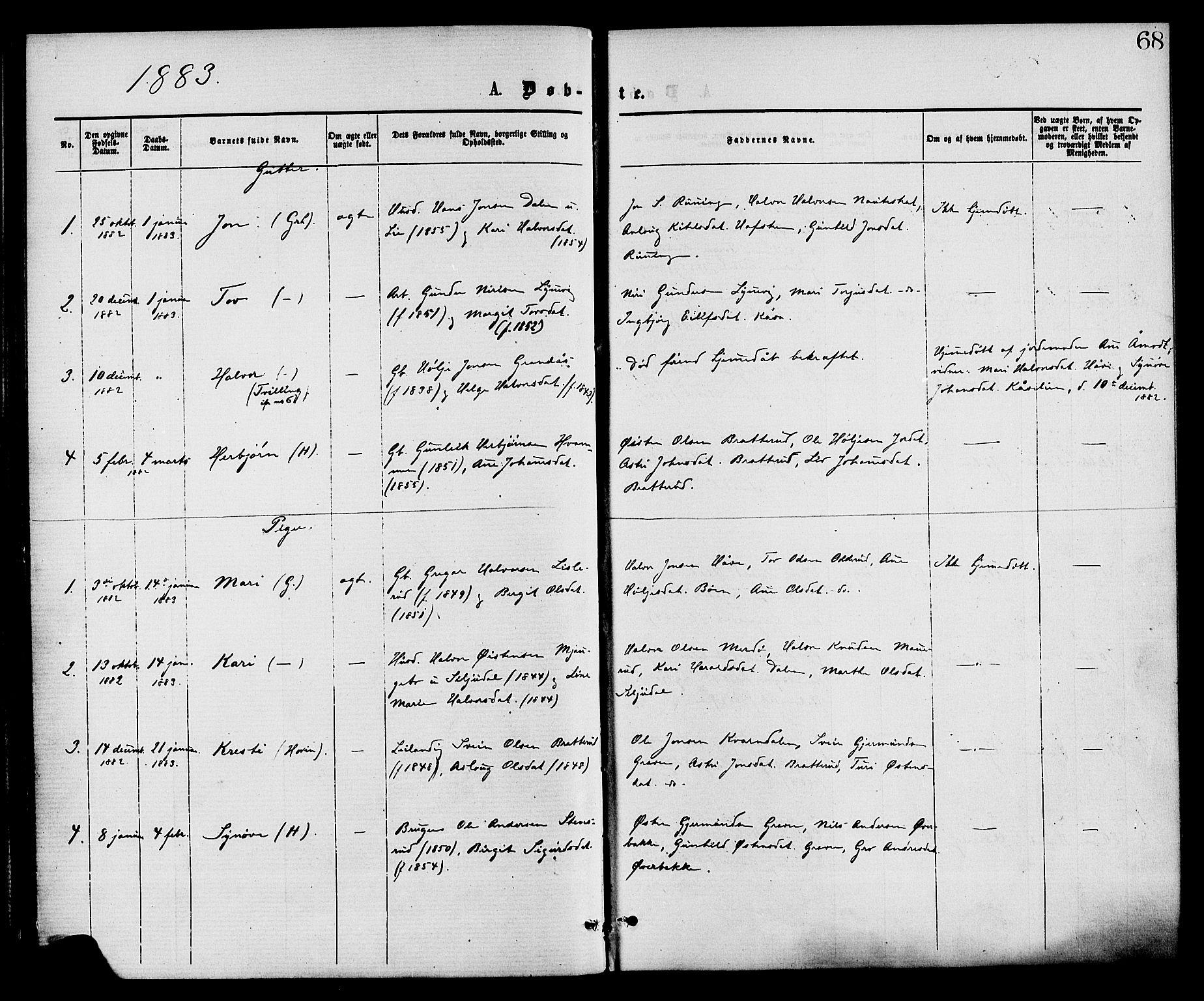 SAKO, Gransherad kirkebøker, F/Fa/L0004: Ministerialbok nr. I 4, 1871-1886, s. 68