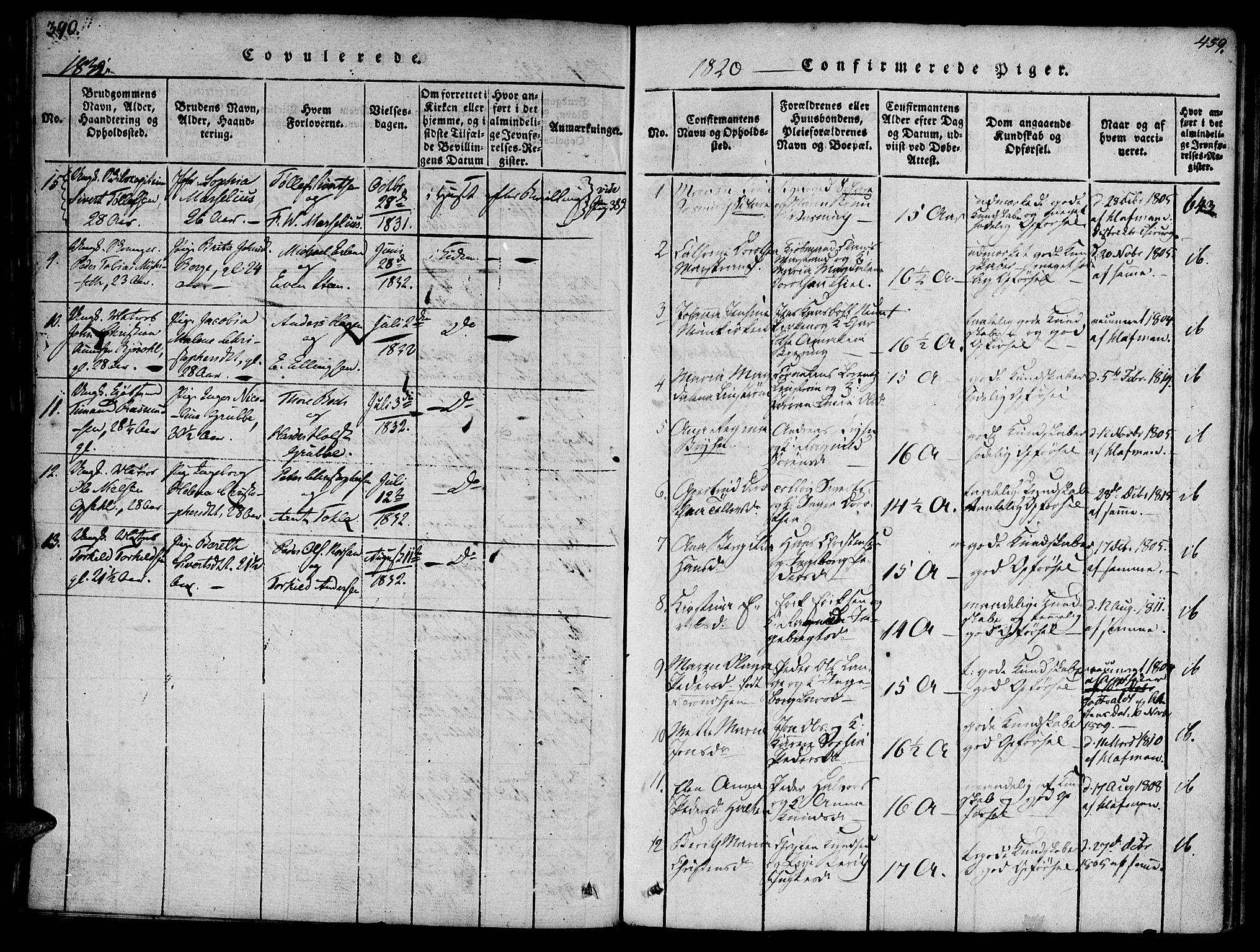 SAT, Ministerialprotokoller, klokkerbøker og fødselsregistre - Møre og Romsdal, 572/L0842: Ministerialbok nr. 572A05, 1819-1832, s. 390-391
