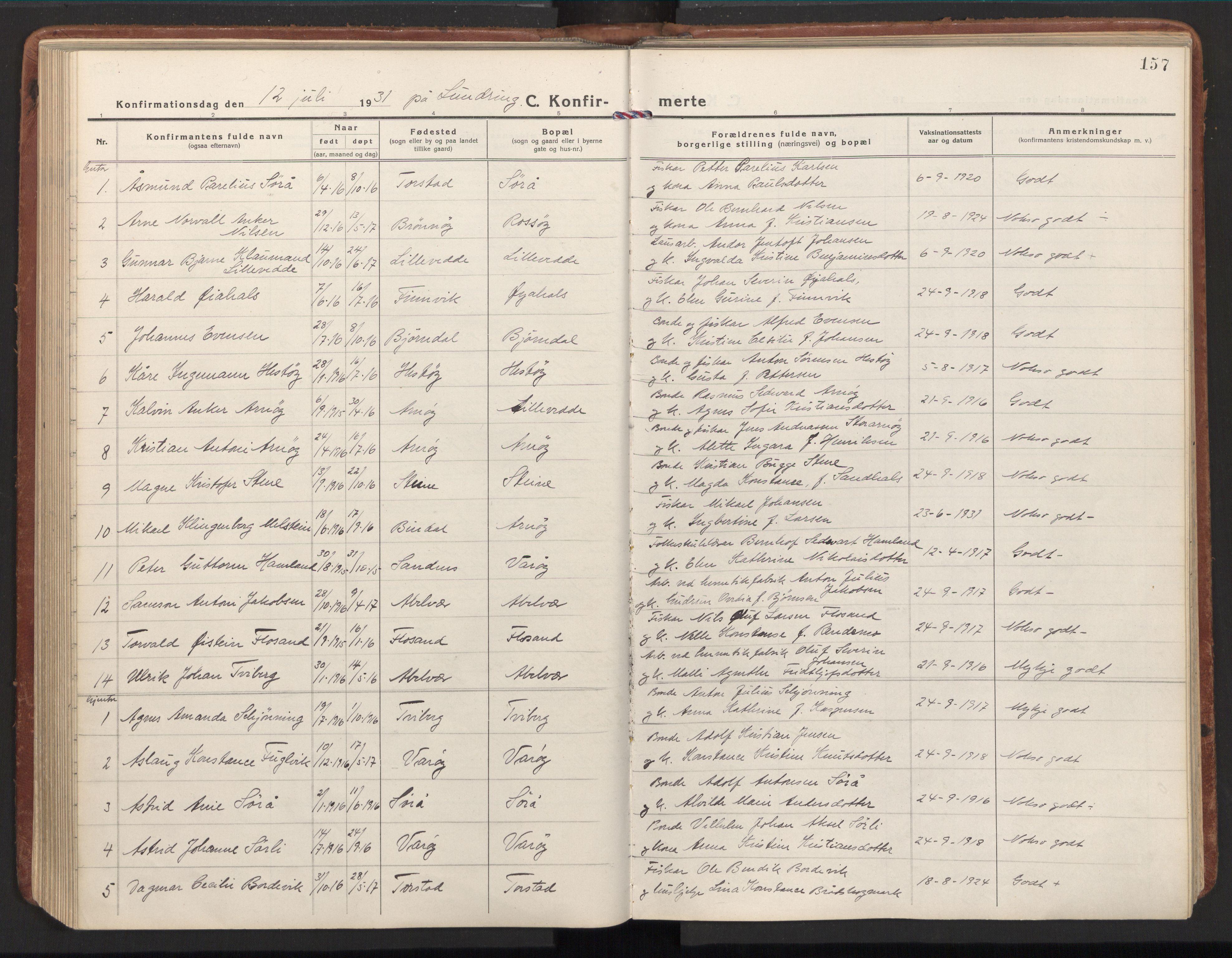 SAT, Ministerialprotokoller, klokkerbøker og fødselsregistre - Nord-Trøndelag, 784/L0678: Ministerialbok nr. 784A13, 1921-1938, s. 157