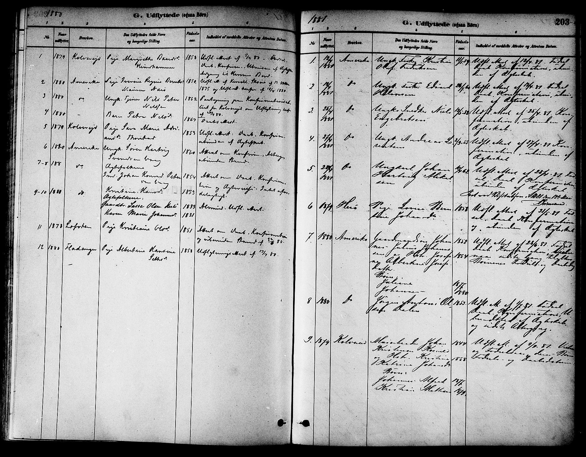 SAT, Ministerialprotokoller, klokkerbøker og fødselsregistre - Nord-Trøndelag, 784/L0672: Ministerialbok nr. 784A07, 1880-1887, s. 203