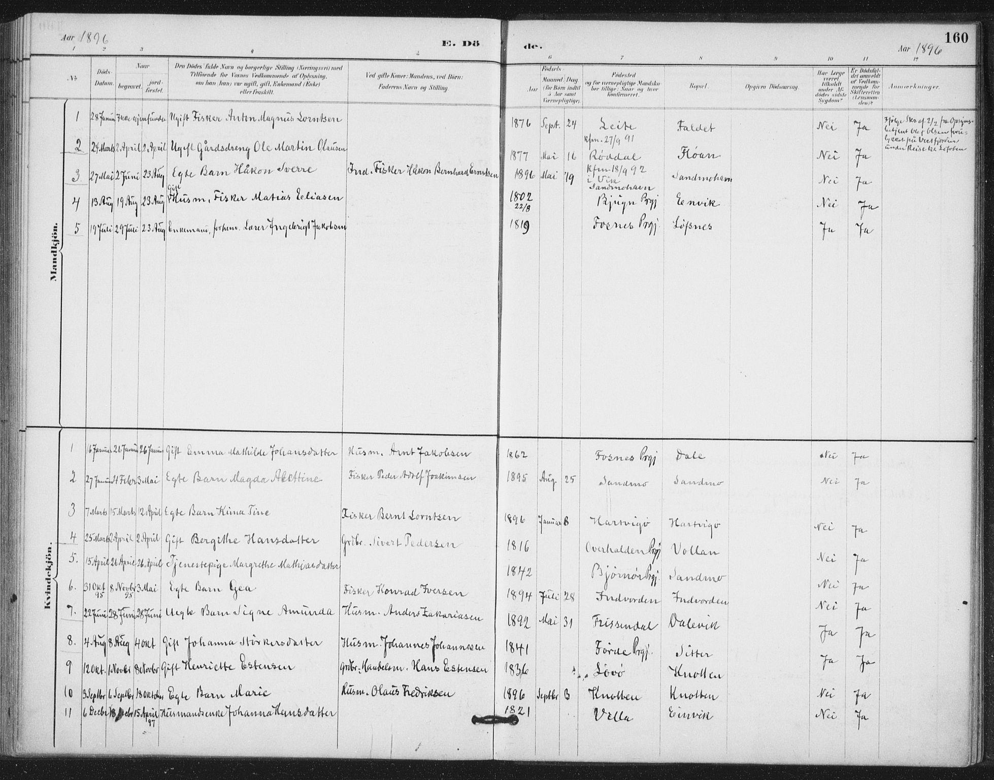 SAT, Ministerialprotokoller, klokkerbøker og fødselsregistre - Nord-Trøndelag, 772/L0603: Ministerialbok nr. 772A01, 1885-1912, s. 160