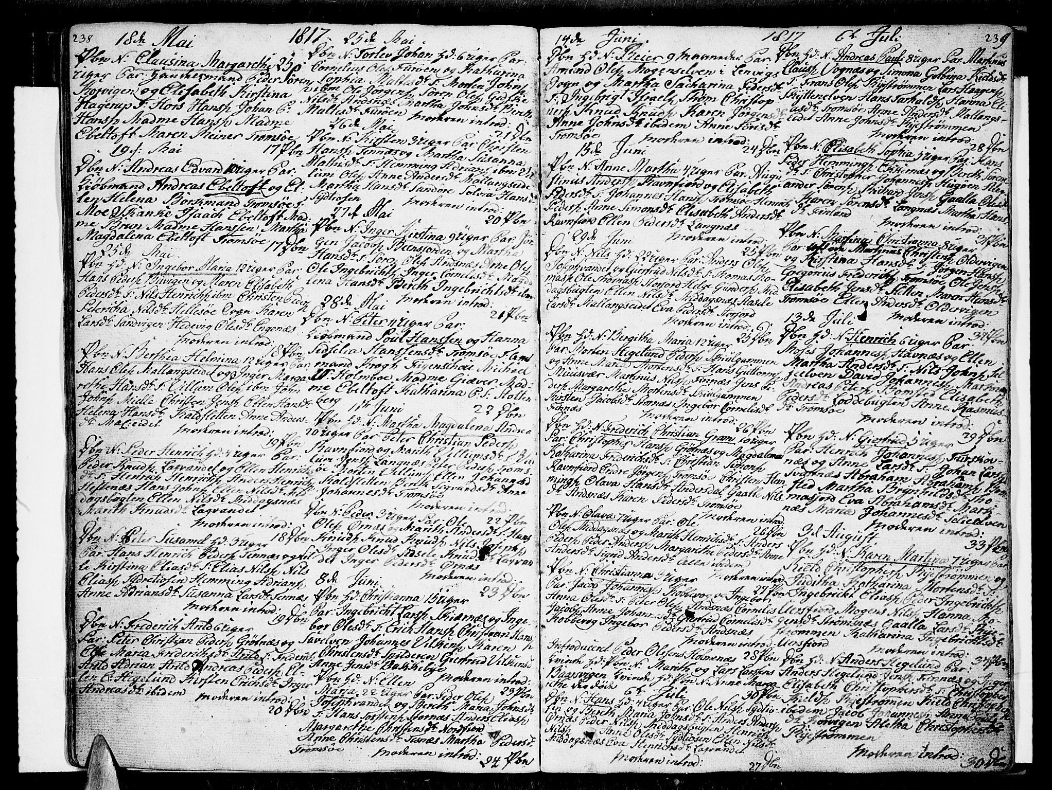 SATØ, Tromsø sokneprestkontor/stiftsprosti/domprosti, G/Ga/L0006kirke: Ministerialbok nr. 6, 1806-1821, s. 238-239