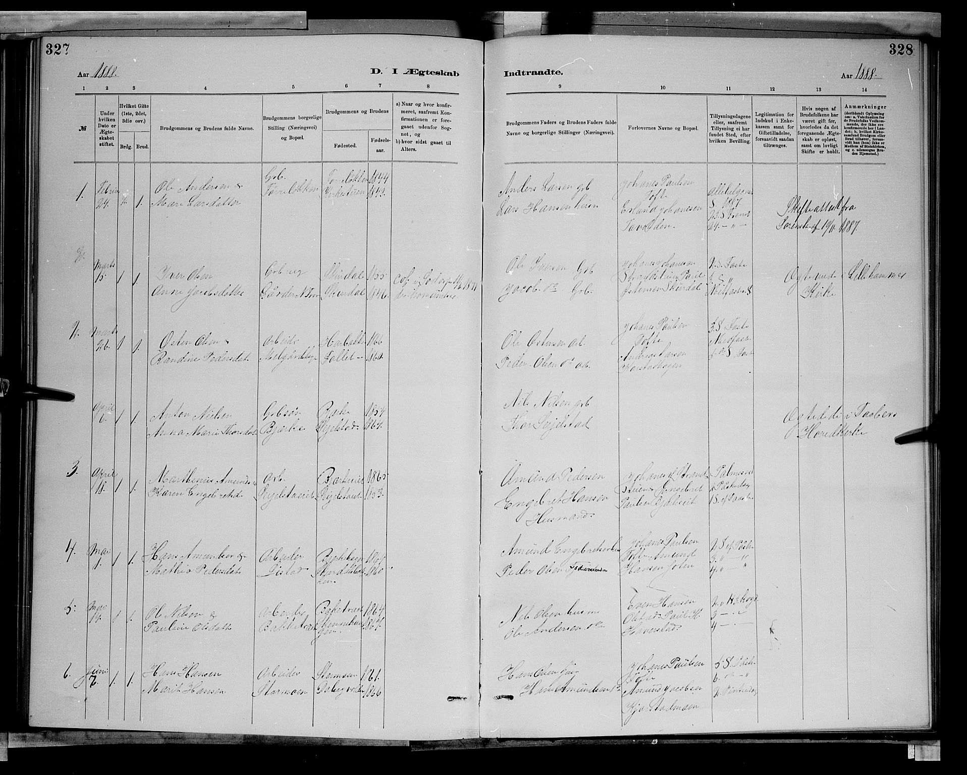 SAH, Sør-Fron prestekontor, H/Ha/Hab/L0003: Klokkerbok nr. 3, 1884-1896, s. 327-328