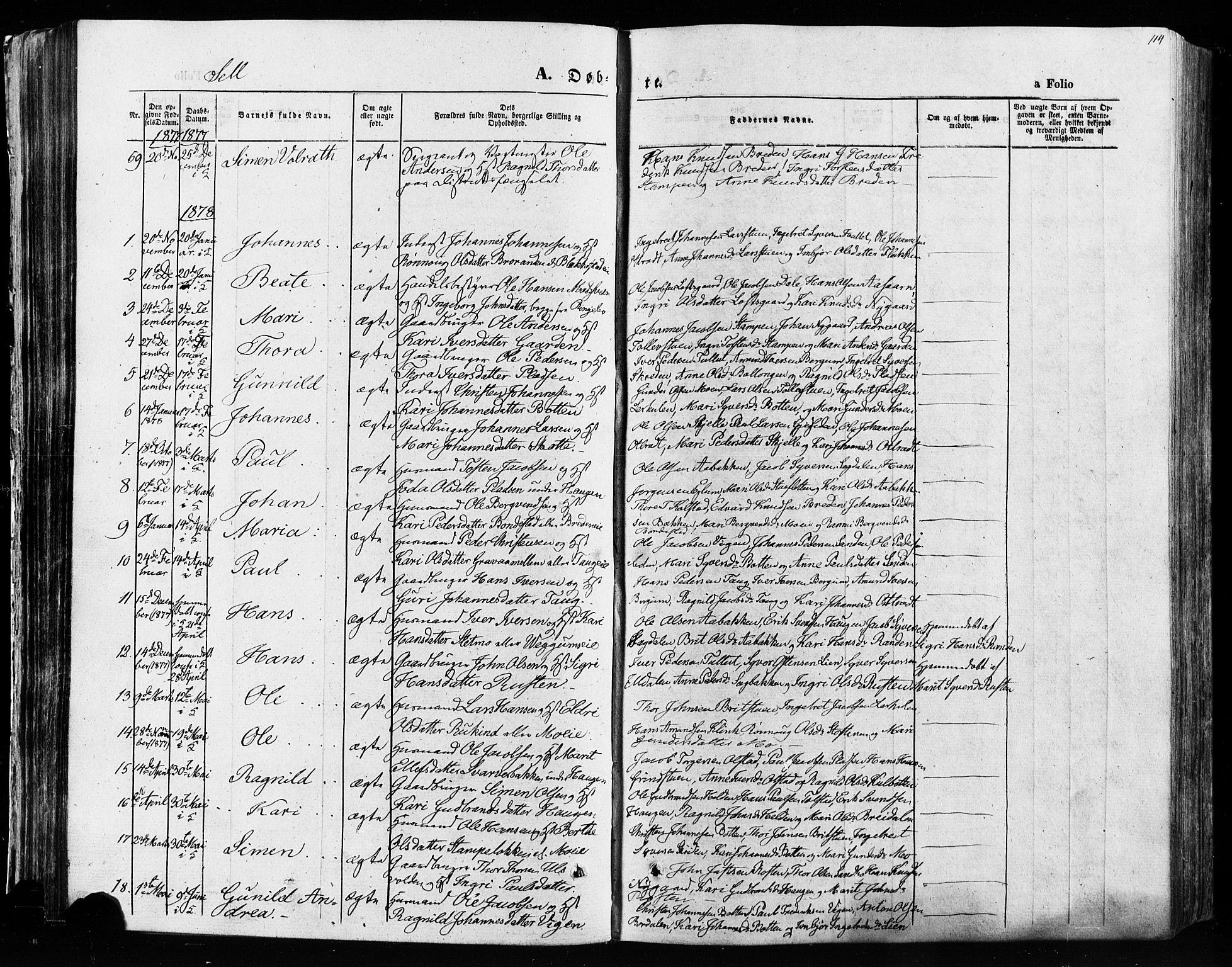 SAH, Vågå prestekontor, Ministerialbok nr. 7 /3, 1872-1886, s. 114