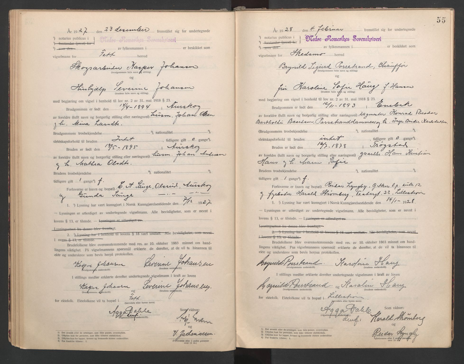 SAO, Nedre Romerike sorenskriveri, L/Lb/L0001: Vigselsbok - borgerlige vielser, 1920-1935, s. 55