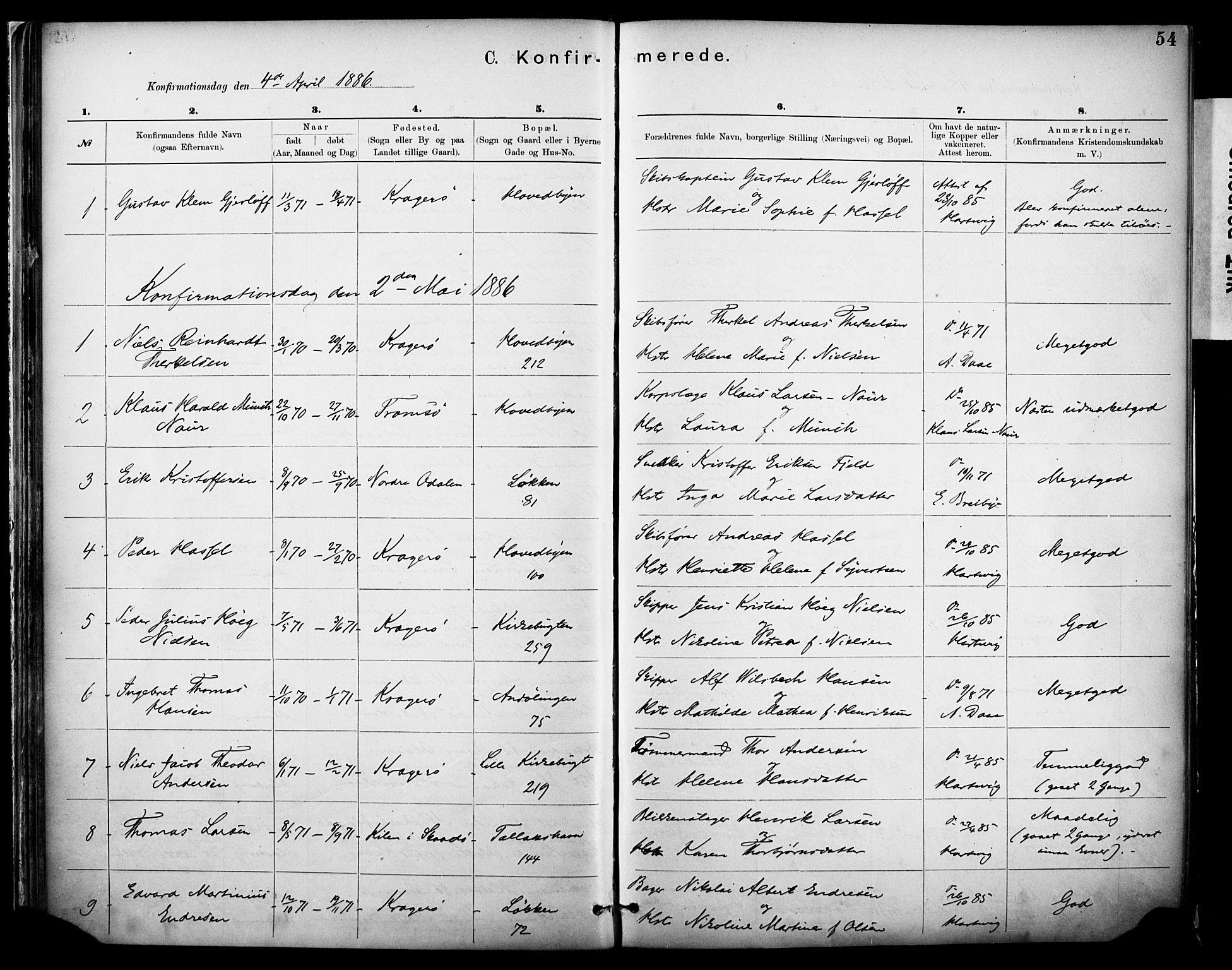 SAKO, Kragerø kirkebøker, F/Fa/L0012: Ministerialbok nr. I 12, 1880-1904, s. 54
