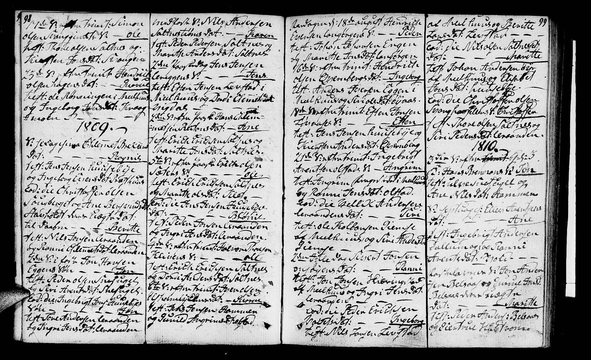SAT, Ministerialprotokoller, klokkerbøker og fødselsregistre - Sør-Trøndelag, 666/L0785: Ministerialbok nr. 666A03, 1803-1816, s. 98-99