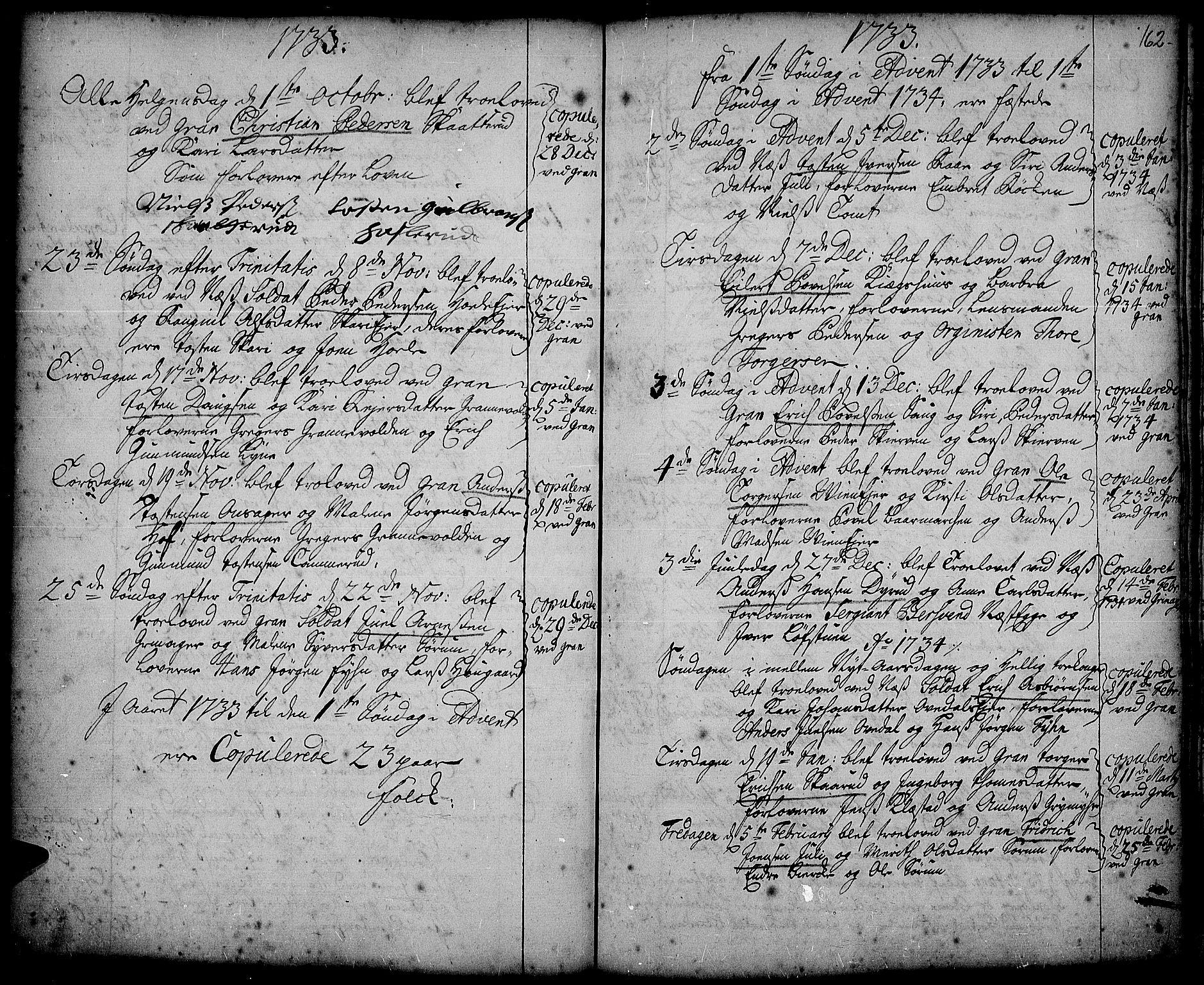 SAH, Gran prestekontor, Ministerialbok nr. 2, 1732-1744, s. 162