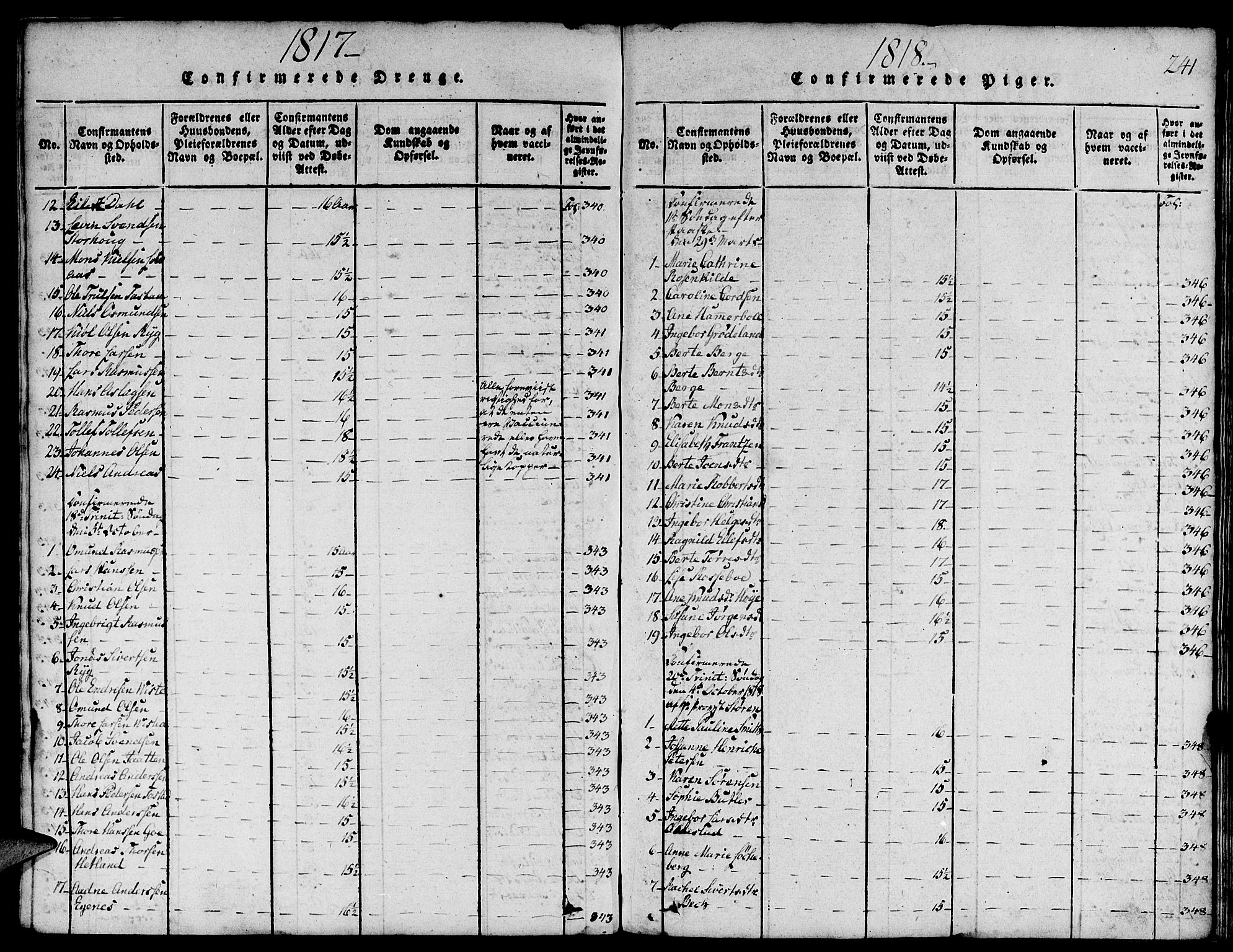 SAST, Domkirken sokneprestkontor, 30/30BA/L0008: Ministerialbok nr. A 8, 1816-1821, s. 241