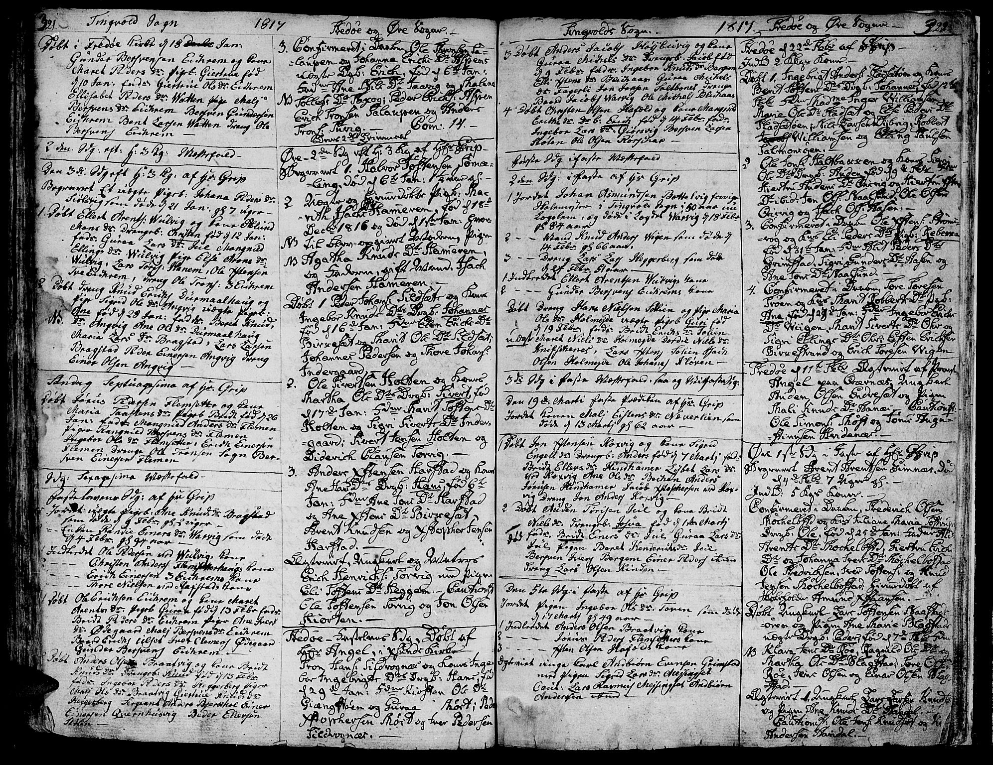 SAT, Ministerialprotokoller, klokkerbøker og fødselsregistre - Møre og Romsdal, 586/L0981: Ministerialbok nr. 586A07, 1794-1819, s. 321-322
