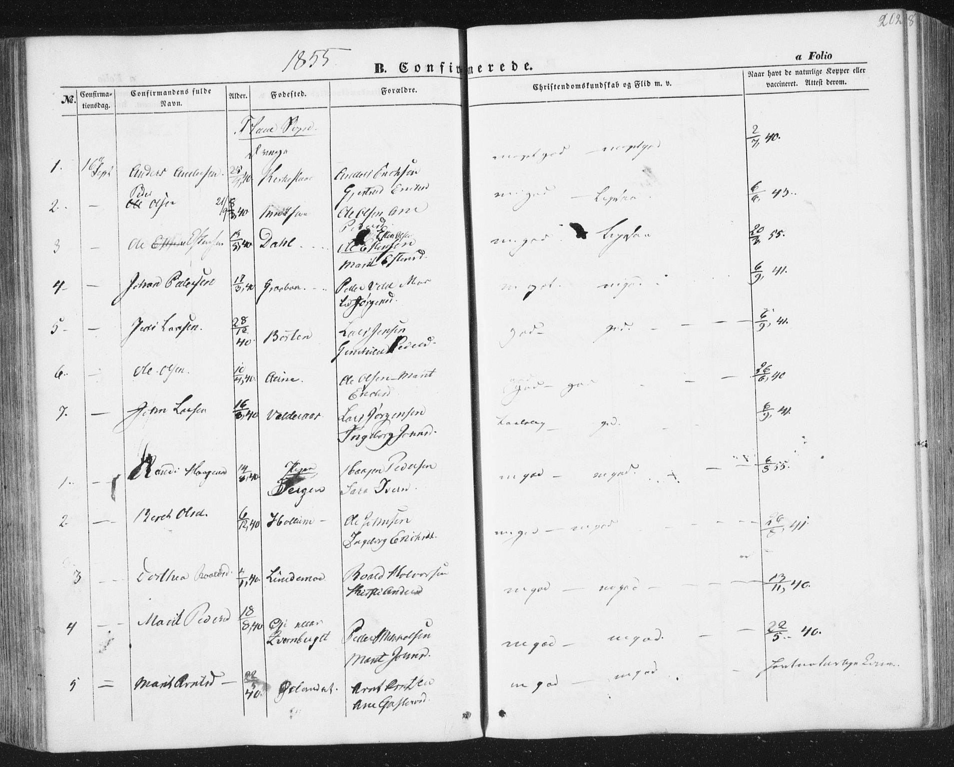 SAT, Ministerialprotokoller, klokkerbøker og fødselsregistre - Sør-Trøndelag, 691/L1076: Ministerialbok nr. 691A08, 1852-1861, s. 202