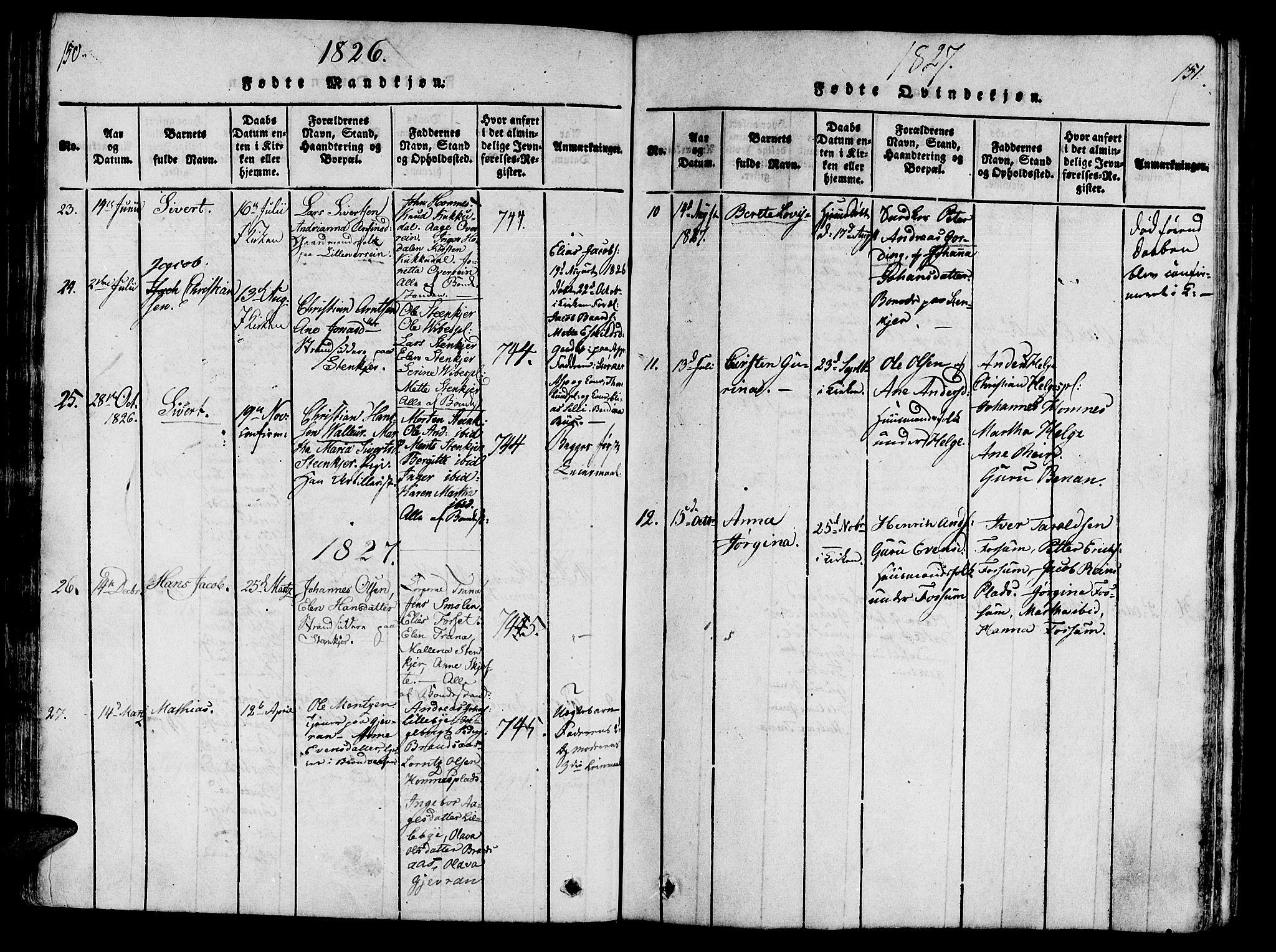 SAT, Ministerialprotokoller, klokkerbøker og fødselsregistre - Nord-Trøndelag, 746/L0441: Ministerialbok nr. 736A03 /3, 1816-1827, s. 150-151