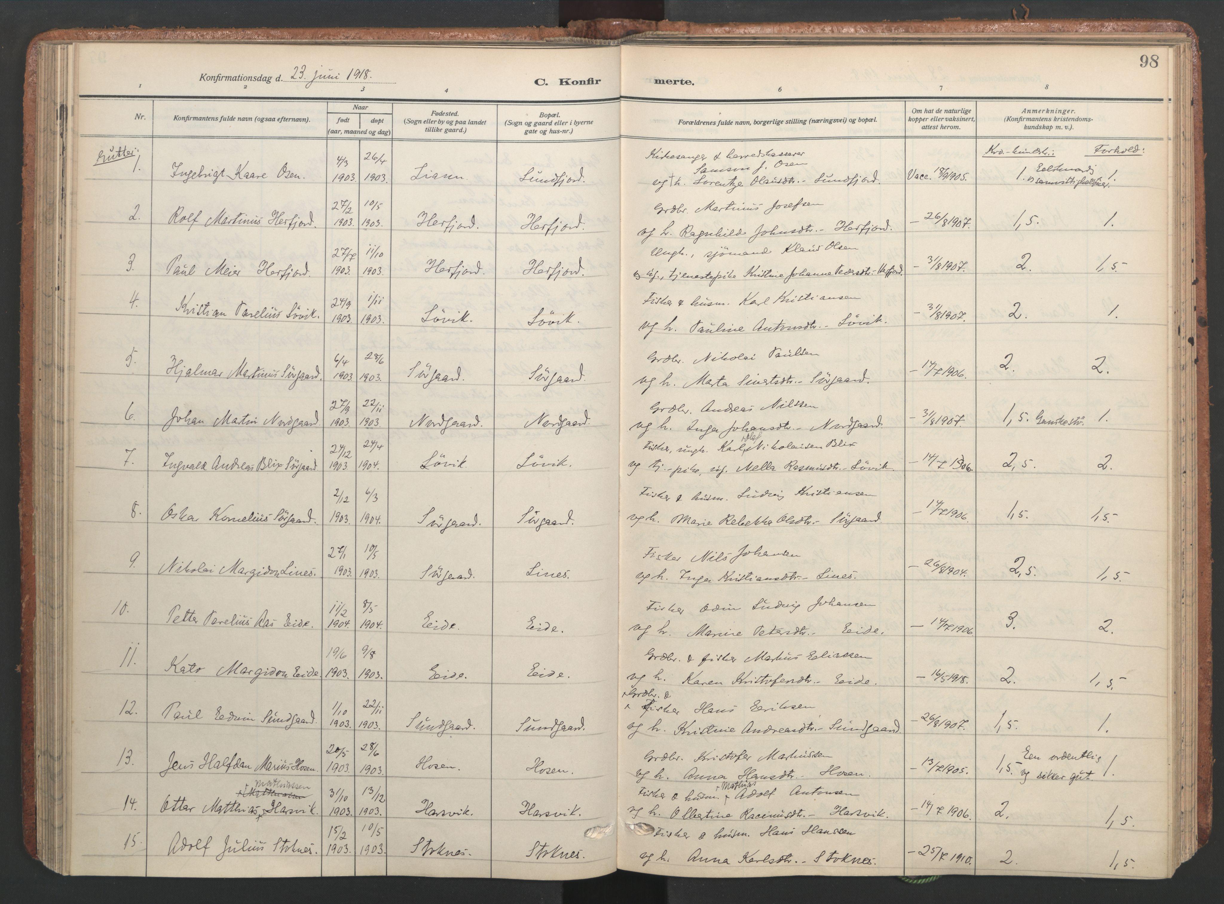 SAT, Ministerialprotokoller, klokkerbøker og fødselsregistre - Sør-Trøndelag, 656/L0694: Ministerialbok nr. 656A03, 1914-1931, s. 98