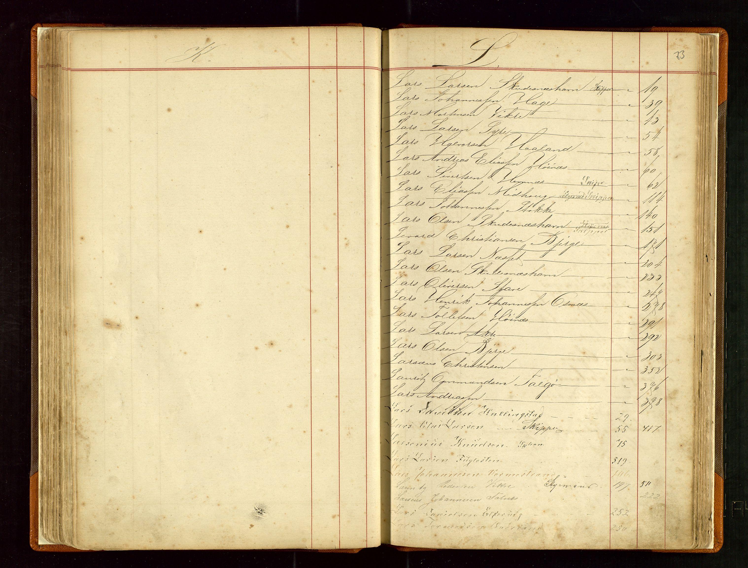 SAST, Haugesund sjømannskontor, F/Fb/Fba/L0003: Navneregister med henvisning til rullenummer (fornavn) Haugesund krets, 1860-1948, s. 73