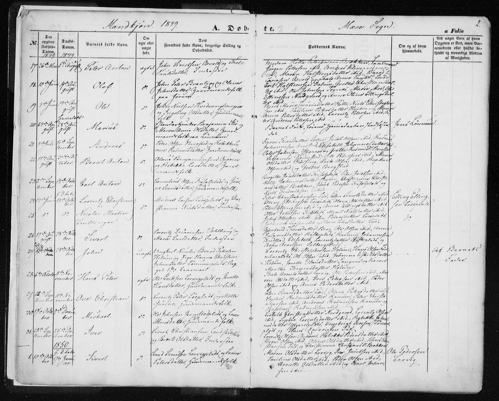 SAT, Ministerialprotokoller, klokkerbøker og fødselsregistre - Nord-Trøndelag, 735/L0342: Ministerialbok nr. 735A07 /1, 1849-1862, s. 2
