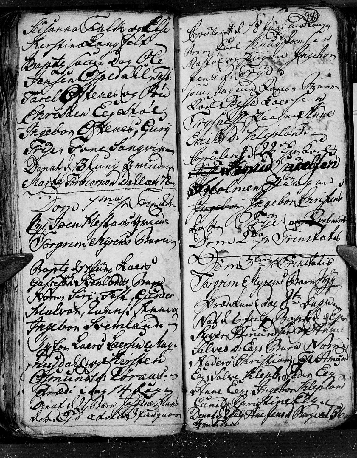 SAK, Søgne sokneprestkontor, F/Fb/Fbb/L0001: Klokkerbok nr. B 1, 1779-1802, s. 94