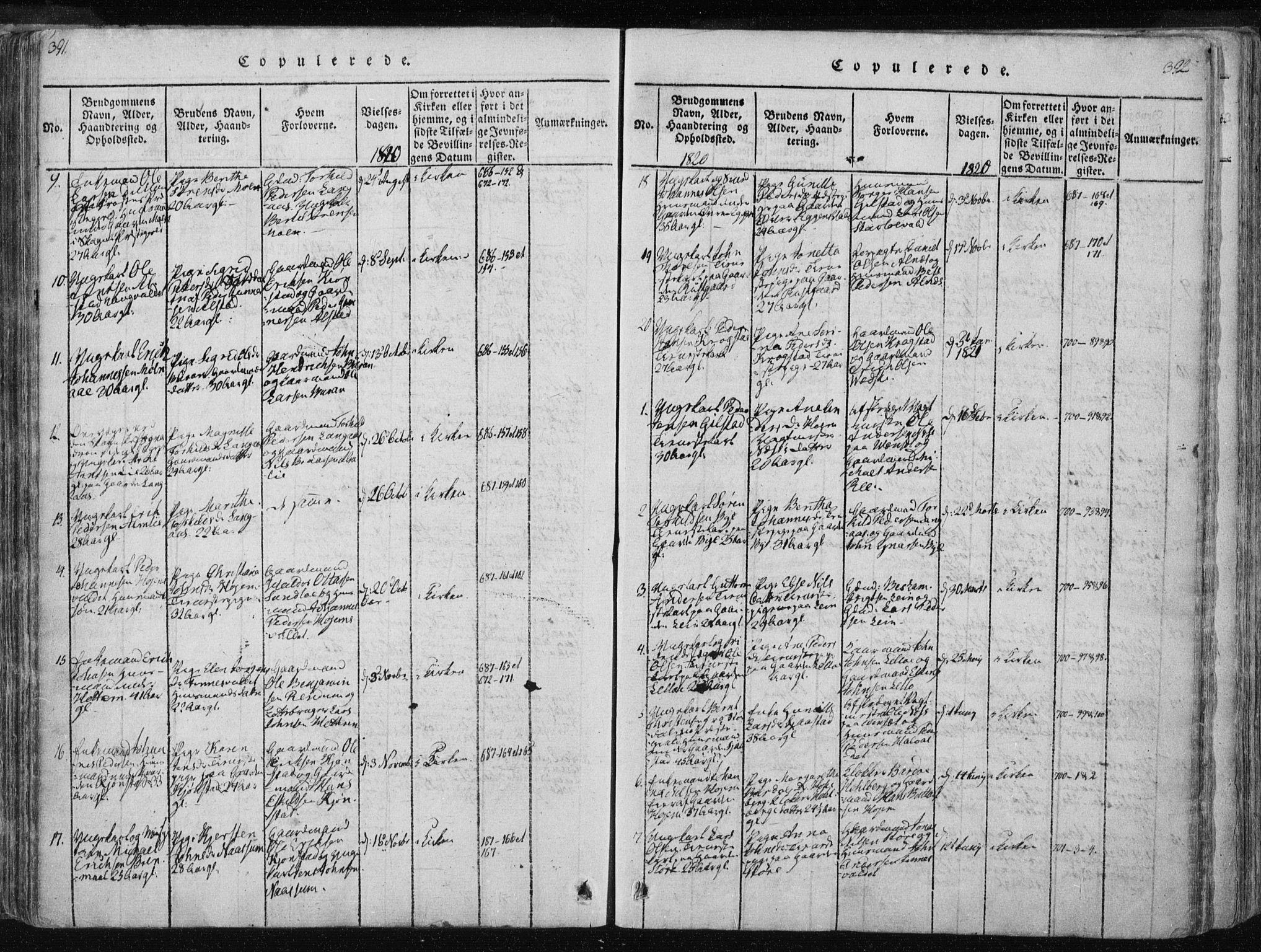 SAT, Ministerialprotokoller, klokkerbøker og fødselsregistre - Nord-Trøndelag, 717/L0148: Ministerialbok nr. 717A04 /1, 1816-1825, s. 391-392