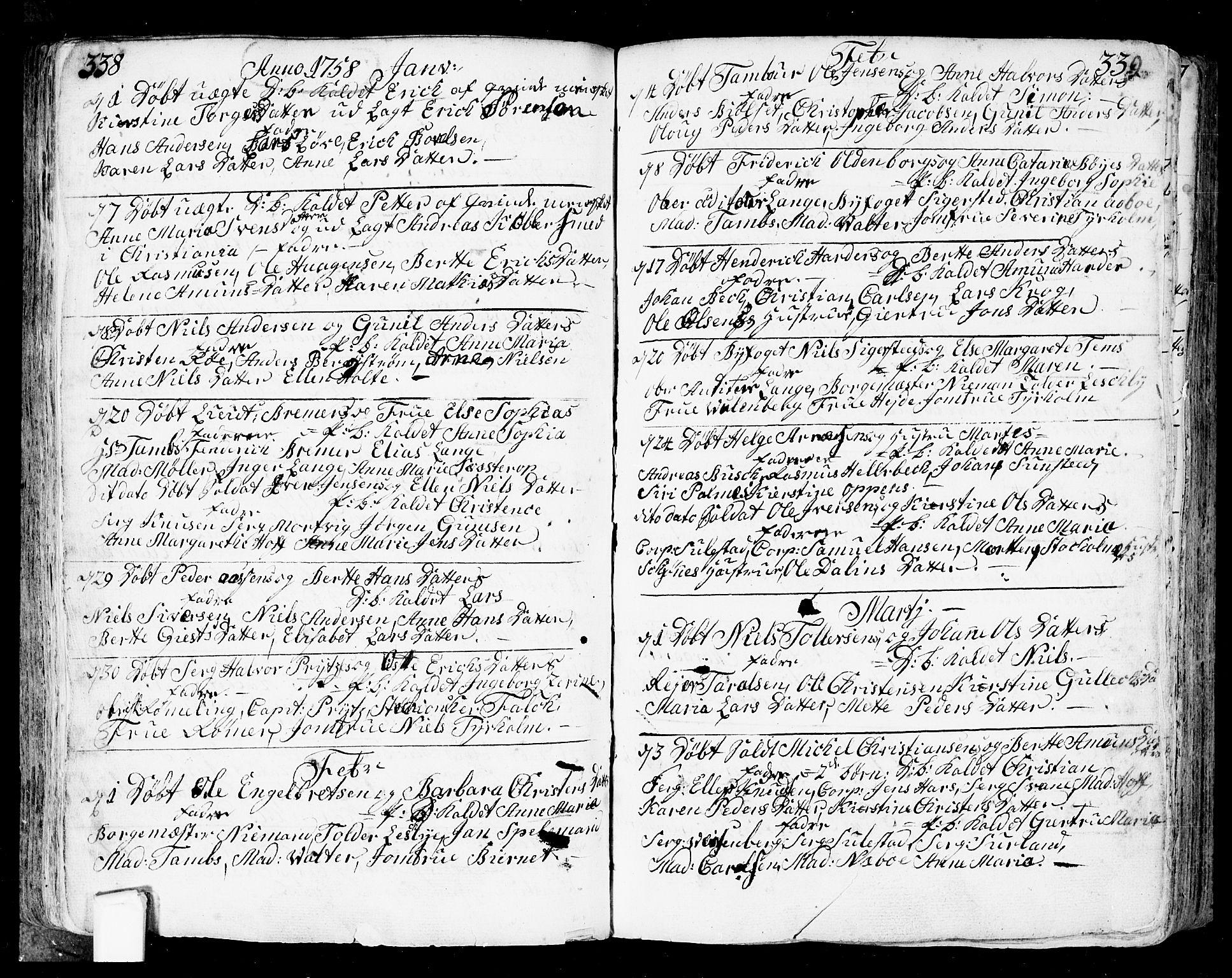 SAO, Fredrikstad prestekontor Kirkebøker, F/Fa/L0002: Ministerialbok nr. 2, 1750-1804, s. 338-339