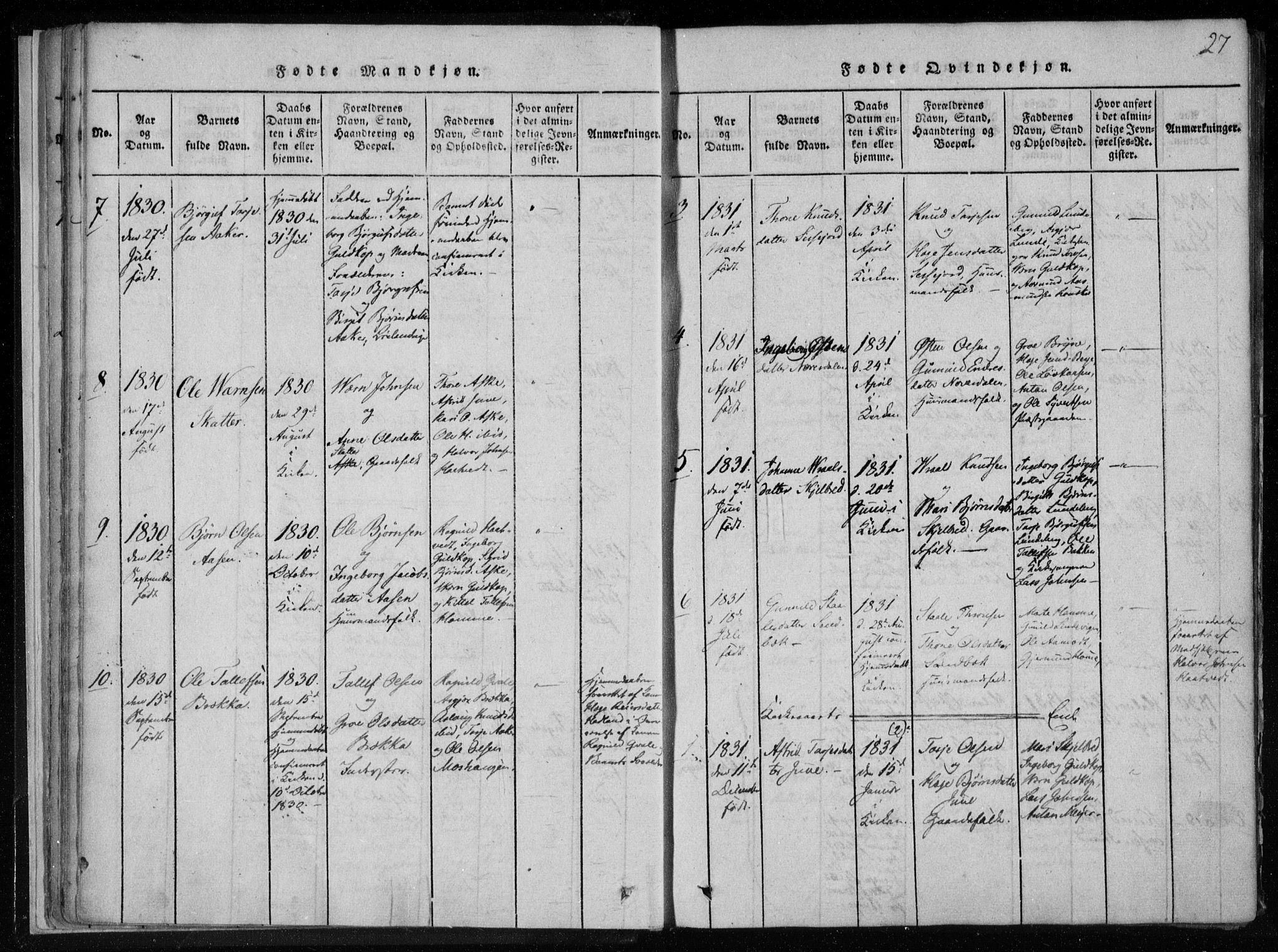 SAKO, Lårdal kirkebøker, F/Fa/L0005: Ministerialbok nr. I 5, 1815-1860, s. 27