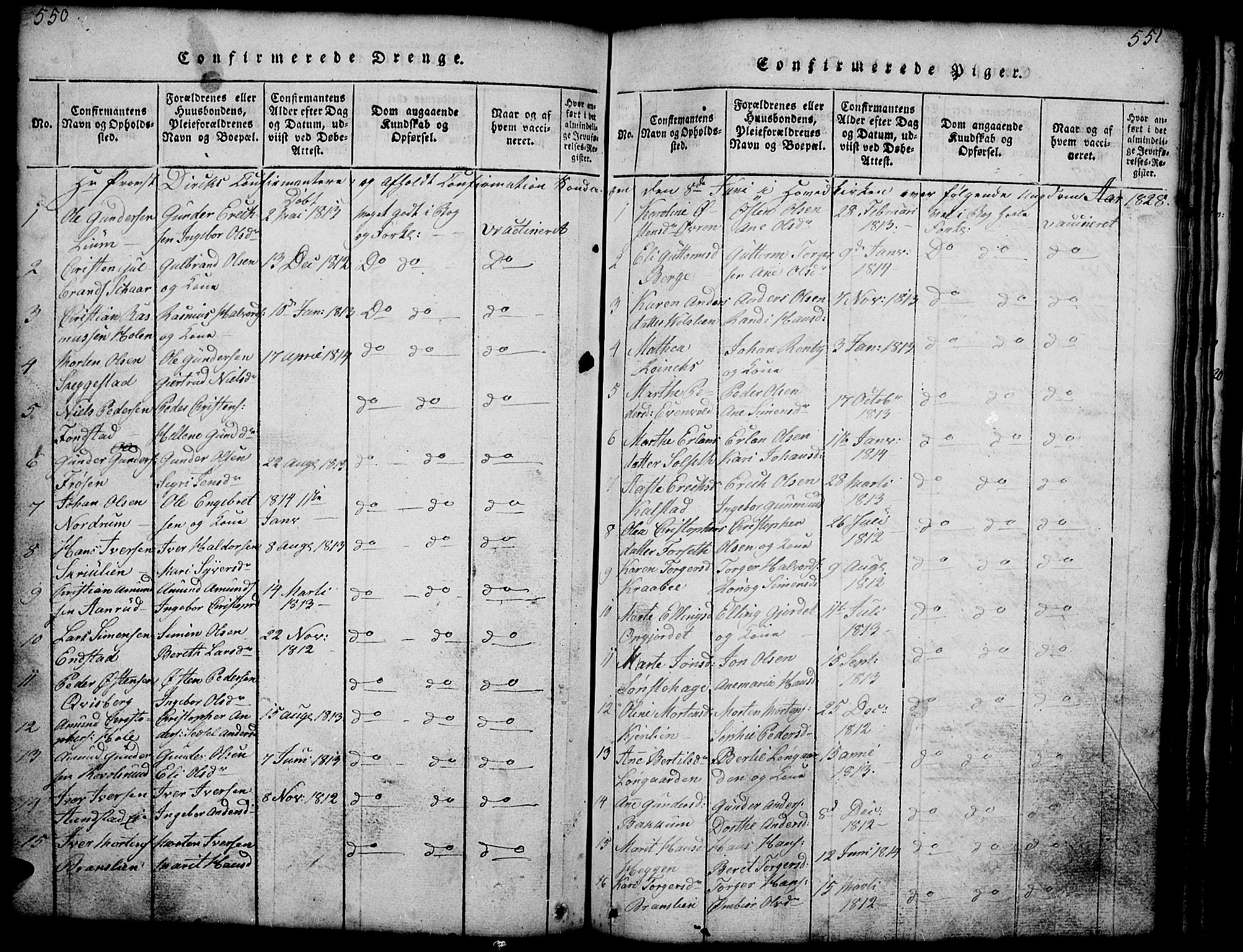 SAH, Gausdal prestekontor, Klokkerbok nr. 1, 1817-1848, s. 550-551