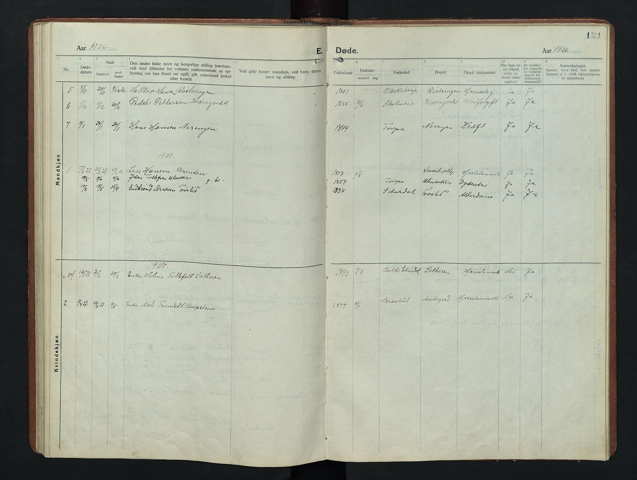 SAH, Nordre Land prestekontor, Klokkerbok nr. 9, 1921-1956, s. 121