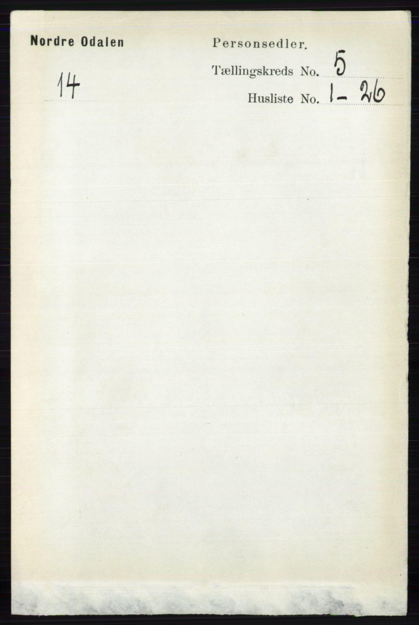 RA, Folketelling 1891 for 0418 Nord-Odal herred, 1891, s. 1549
