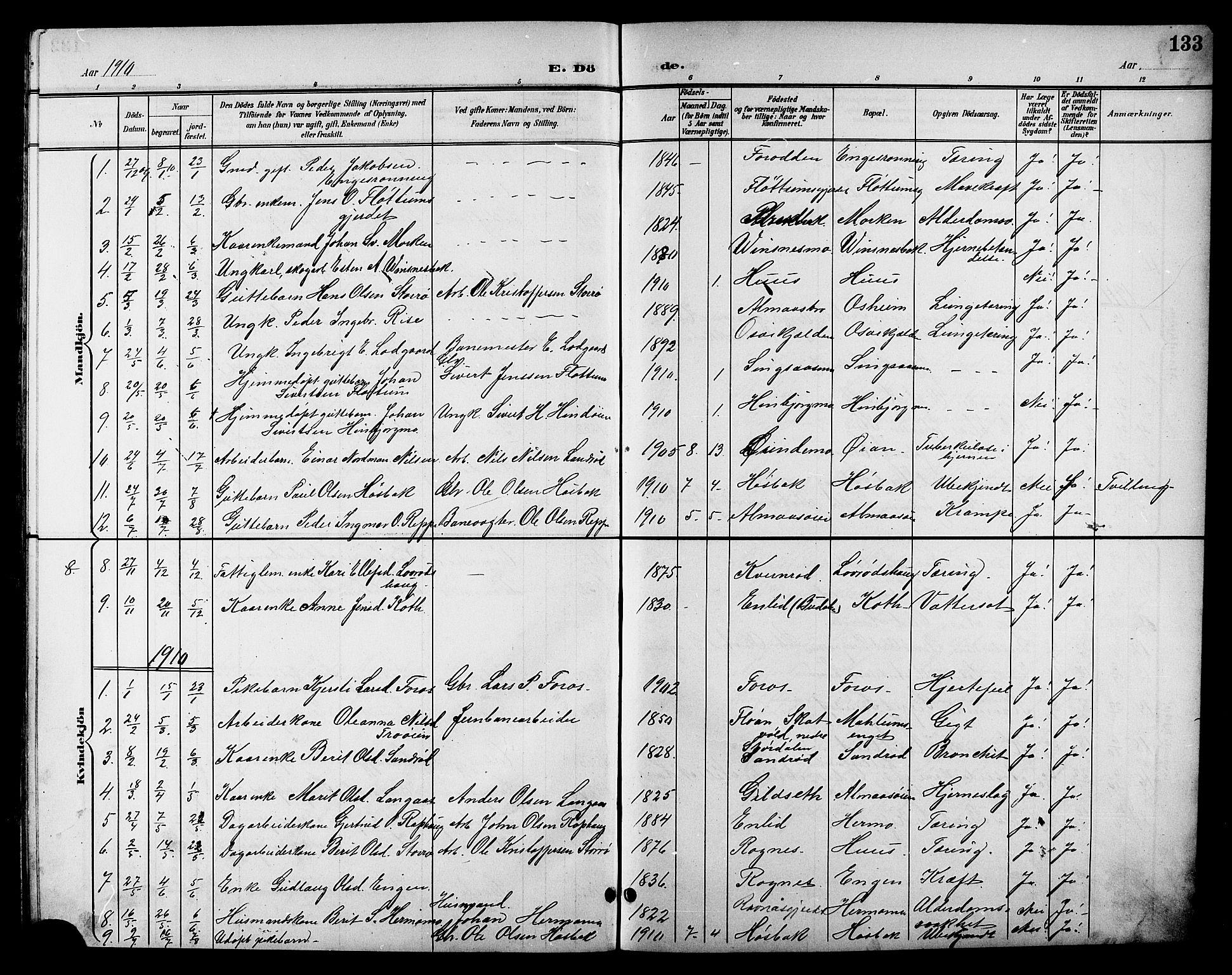 SAT, Ministerialprotokoller, klokkerbøker og fødselsregistre - Sør-Trøndelag, 688/L1029: Klokkerbok nr. 688C04, 1899-1915, s. 133