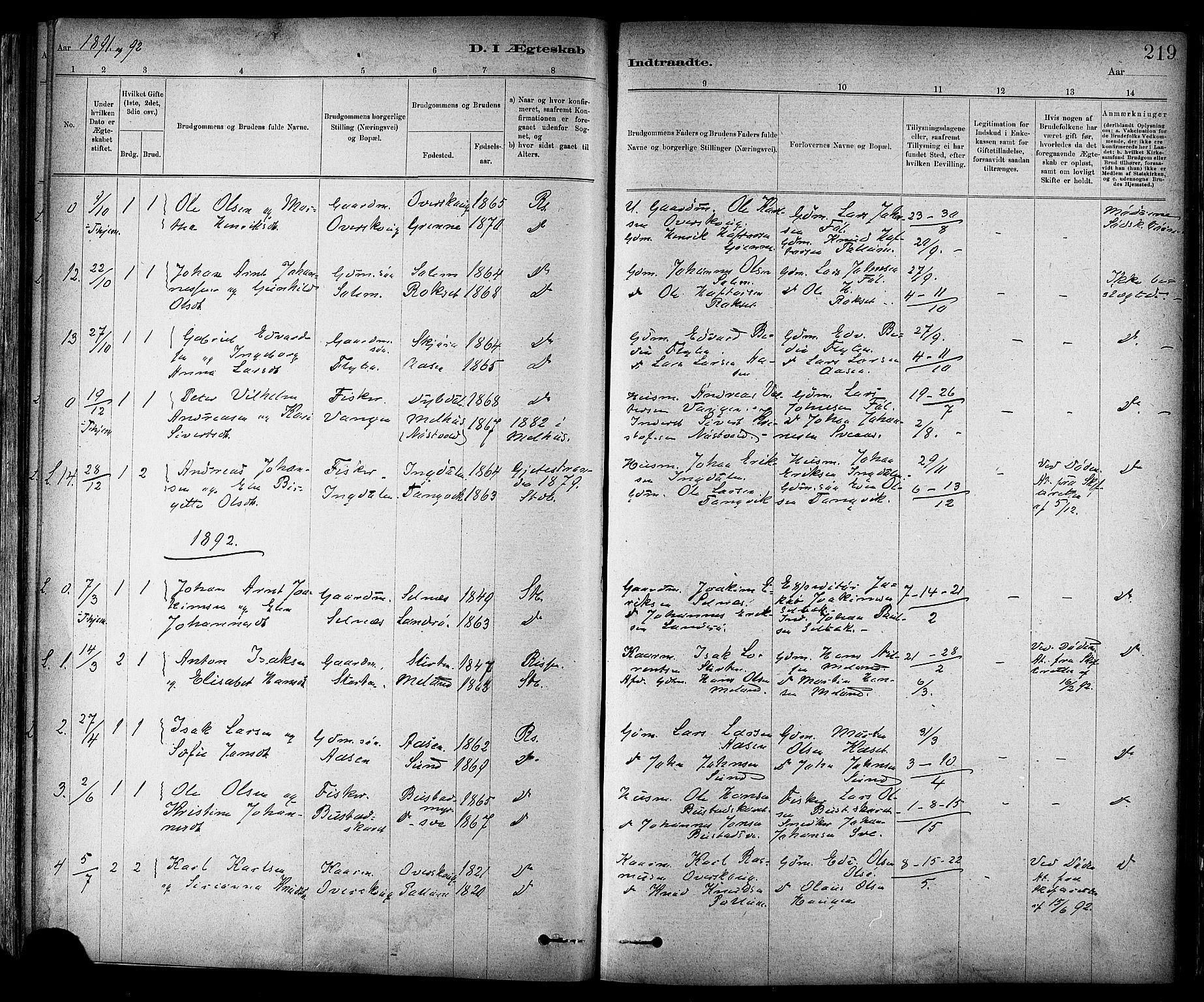 SAT, Ministerialprotokoller, klokkerbøker og fødselsregistre - Sør-Trøndelag, 647/L0634: Ministerialbok nr. 647A01, 1885-1896, s. 219