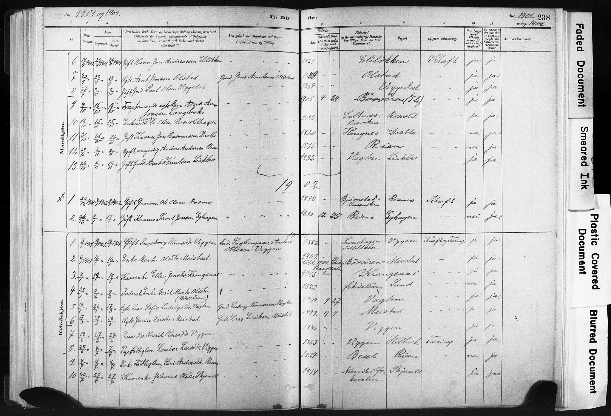 SAT, Ministerialprotokoller, klokkerbøker og fødselsregistre - Sør-Trøndelag, 665/L0773: Ministerialbok nr. 665A08, 1879-1905, s. 238