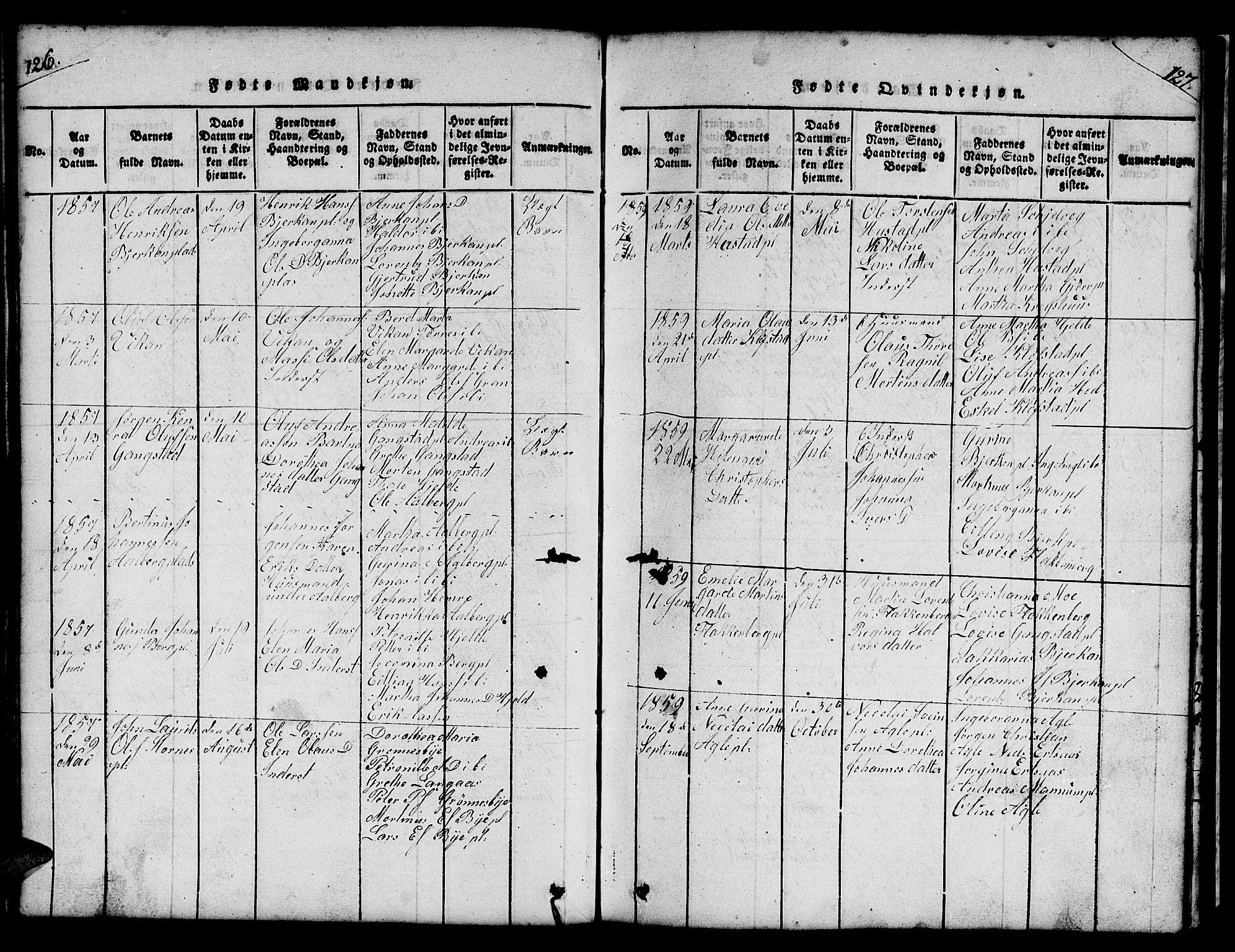 SAT, Ministerialprotokoller, klokkerbøker og fødselsregistre - Nord-Trøndelag, 732/L0317: Klokkerbok nr. 732C01, 1816-1881, s. 126-127