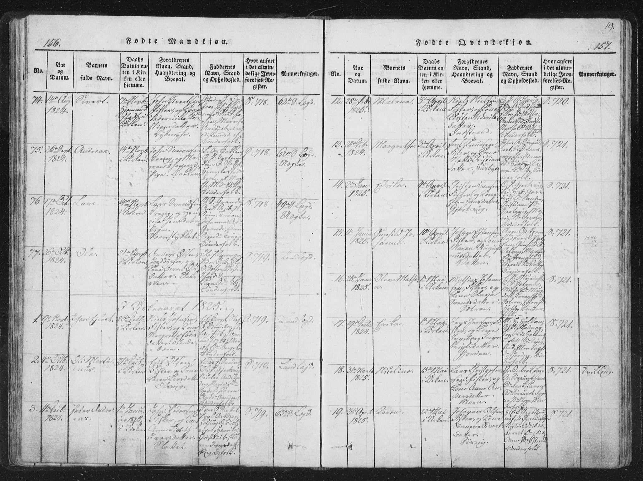 SAT, Ministerialprotokoller, klokkerbøker og fødselsregistre - Sør-Trøndelag, 659/L0734: Ministerialbok nr. 659A04, 1818-1825, s. 156-157