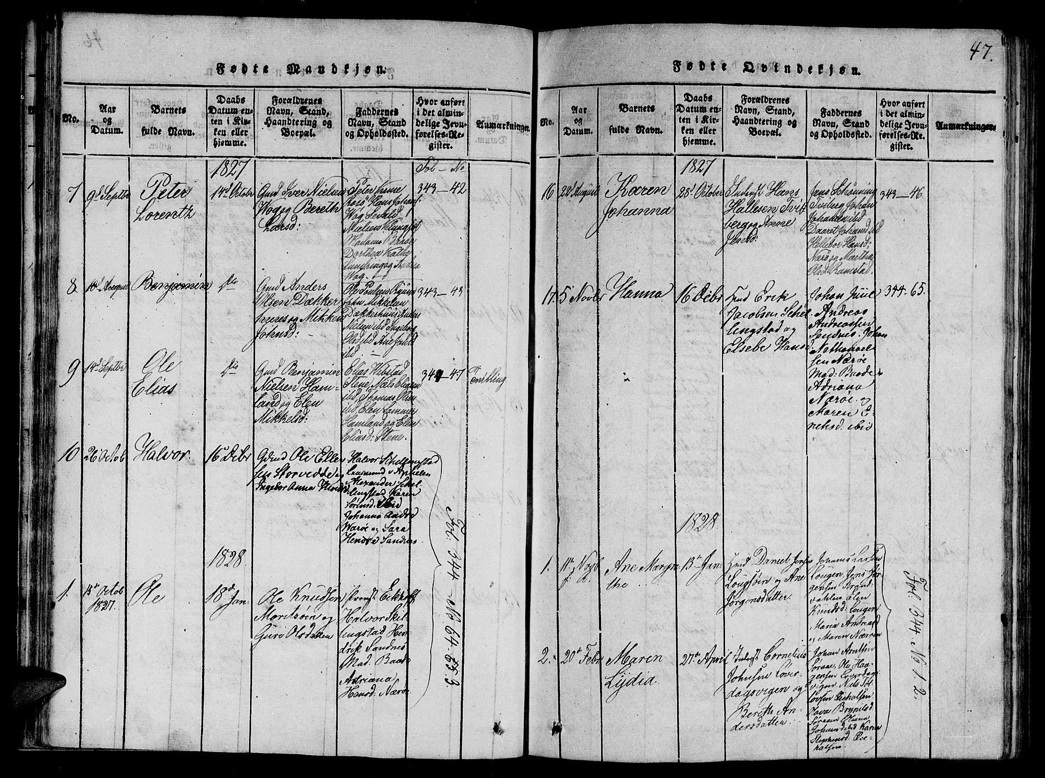 SAT, Ministerialprotokoller, klokkerbøker og fødselsregistre - Nord-Trøndelag, 784/L0667: Ministerialbok nr. 784A03 /1, 1816-1829, s. 47