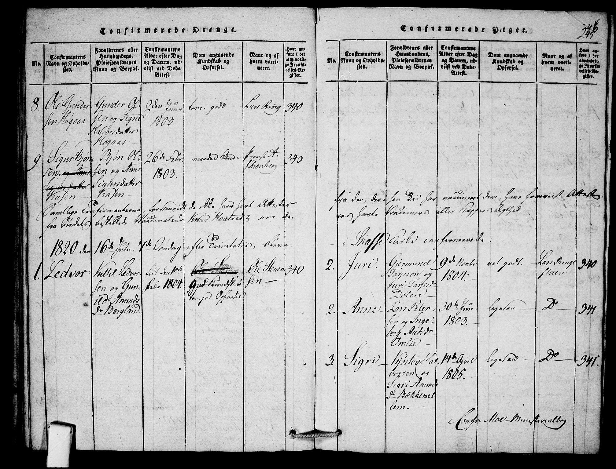 SAKO, Mo kirkebøker, F/Fb/L0001: Ministerialbok nr. II 1, 1814-1844, s. 245
