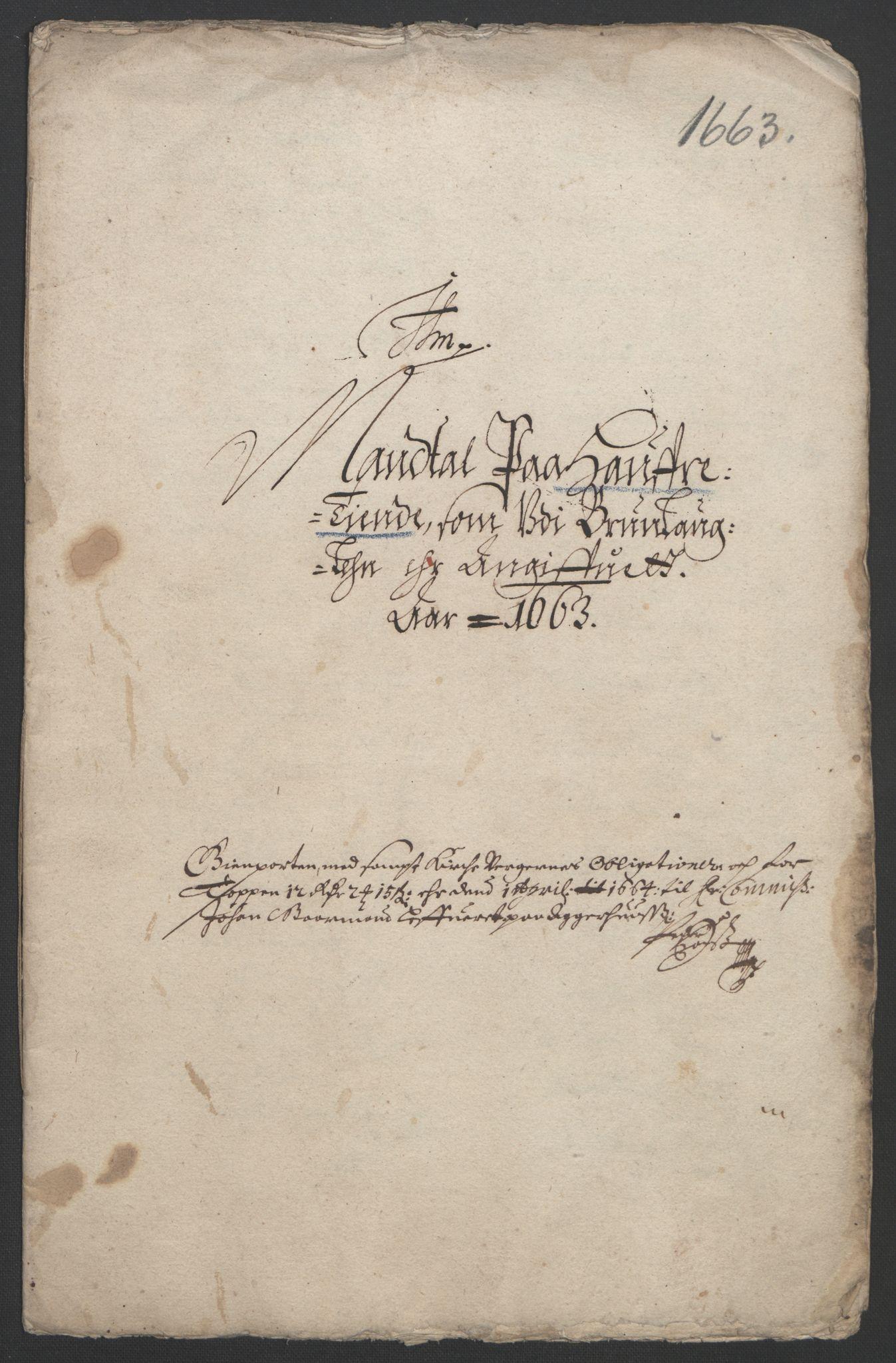 RA, Rentekammeret inntil 1814, Reviderte regnskaper, Fogderegnskap, R33/L1963: Fogderegnskap Larvik grevskap, 1662-1664, s. 186
