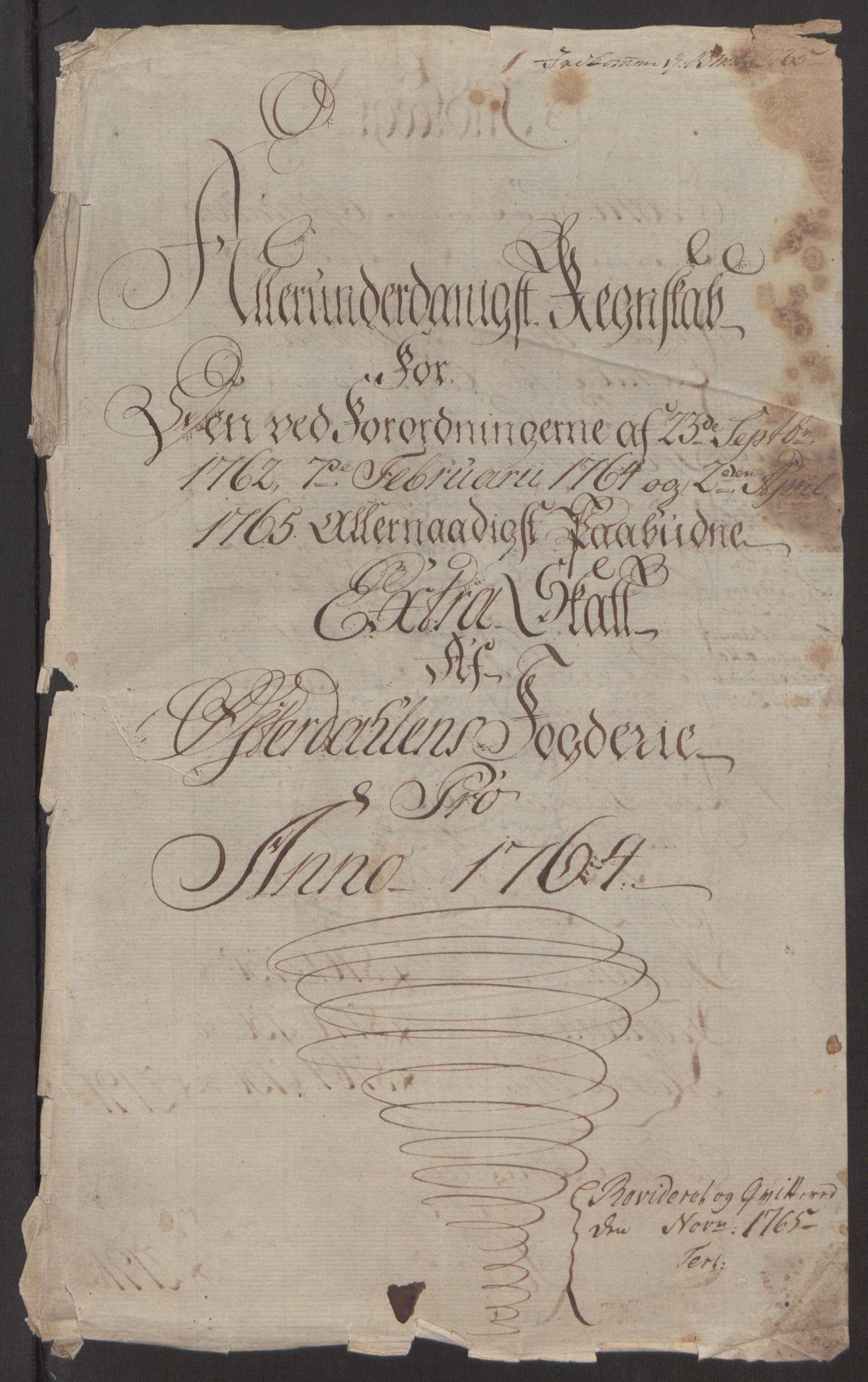 RA, Rentekammeret inntil 1814, Reviderte regnskaper, Fogderegnskap, R15/L1014: Ekstraskatten Østerdal, 1762-1764, s. 491