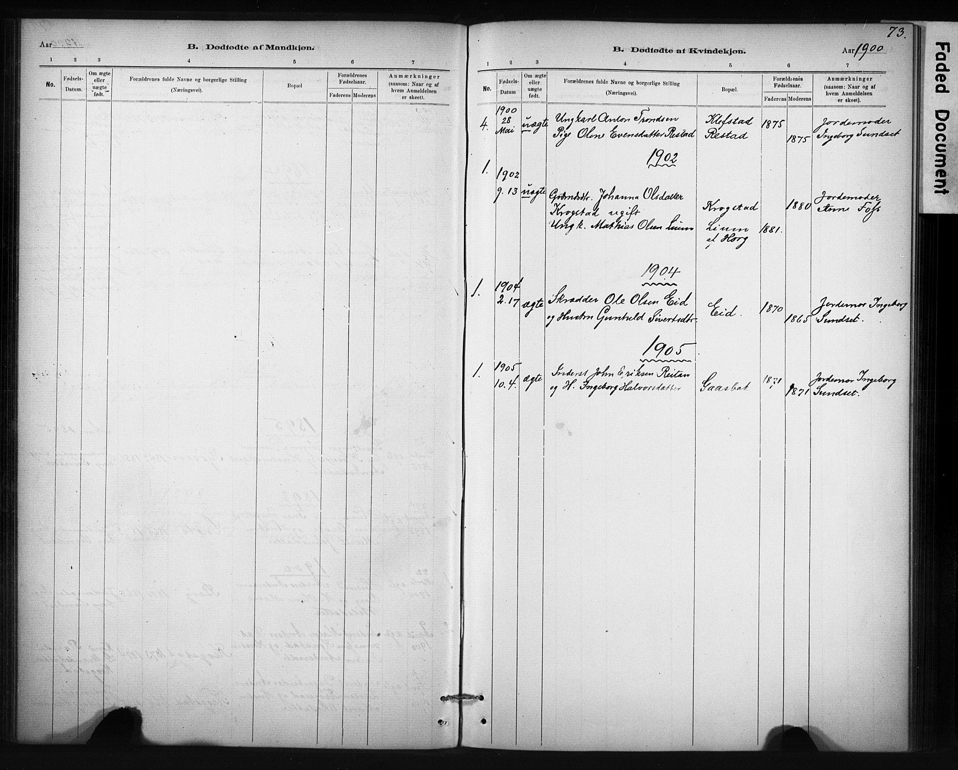 SAT, Ministerialprotokoller, klokkerbøker og fødselsregistre - Sør-Trøndelag, 694/L1127: Ministerialbok nr. 694A01, 1887-1905, s. 73